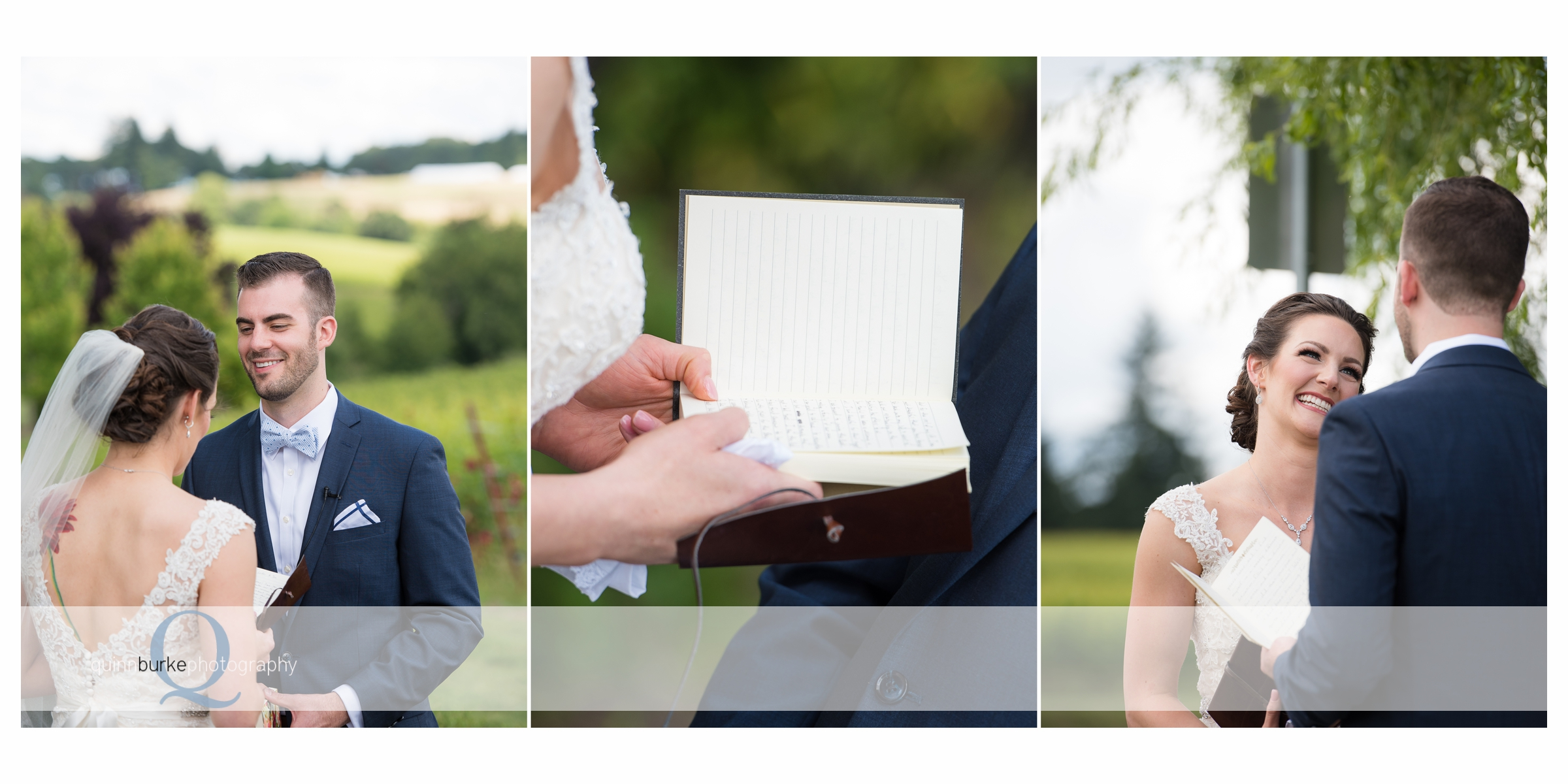 bride and groom read letters to each other