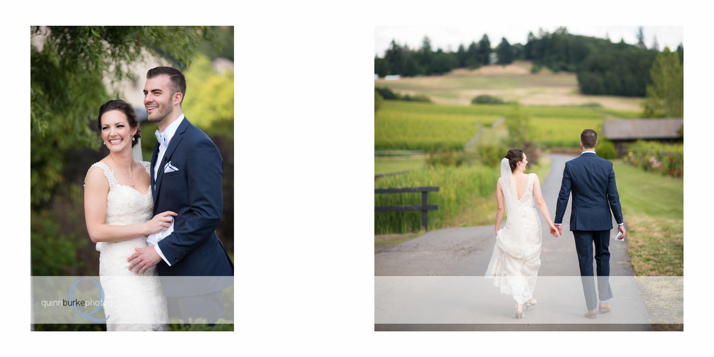 bride and groom walk in vineyard