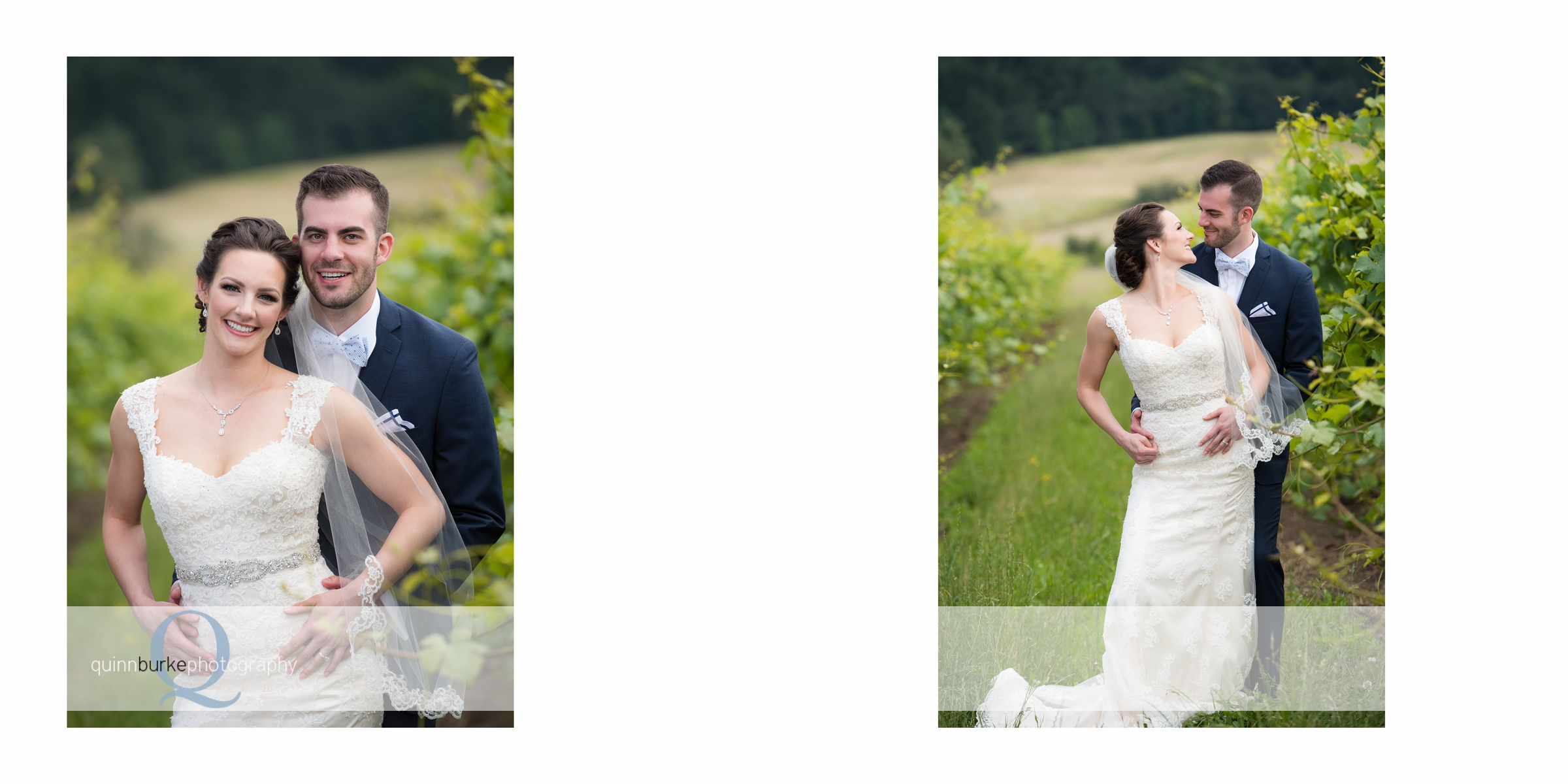 bride and groom portraits in vineyard