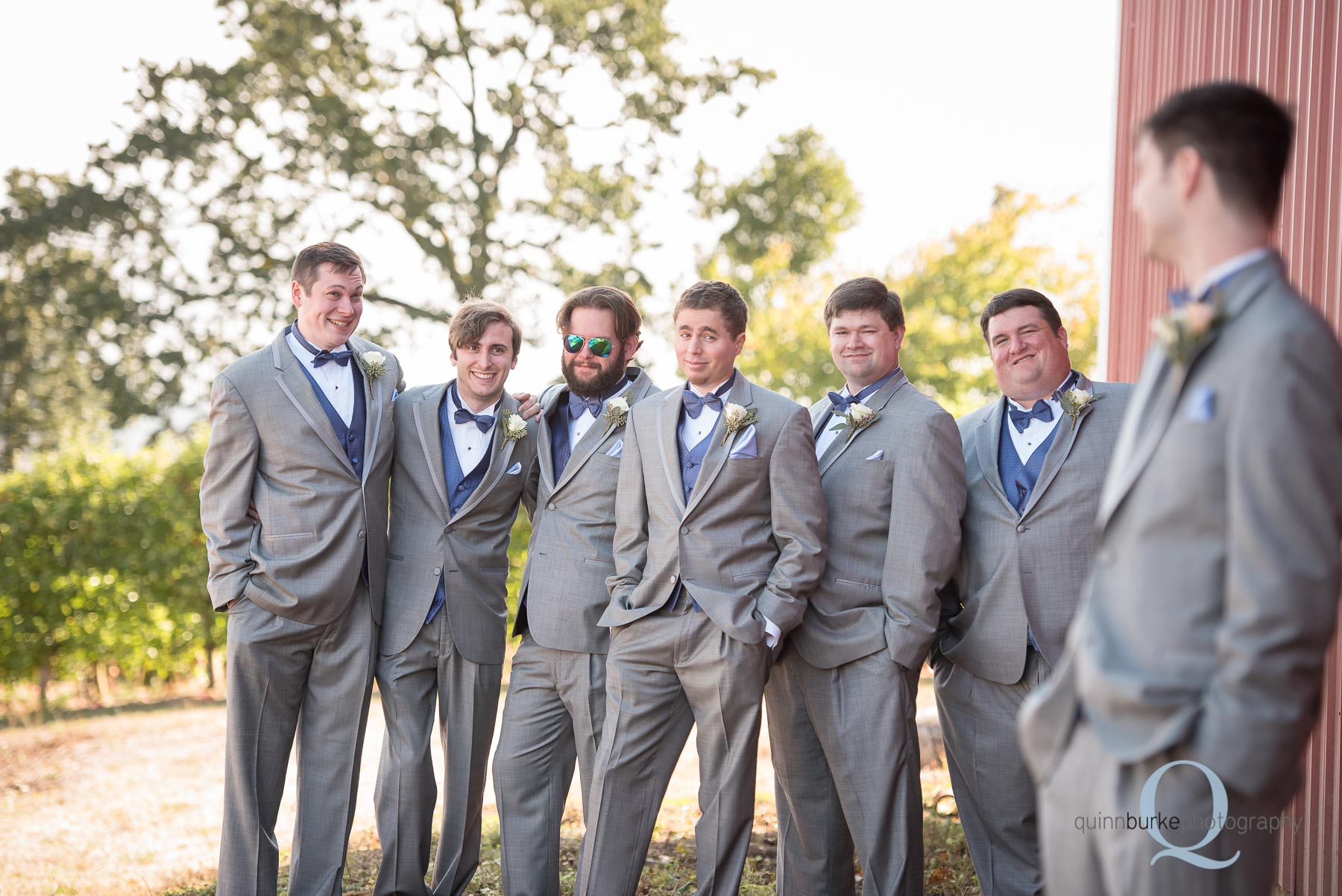 barn wedding groomsmen at Perryhill Farm