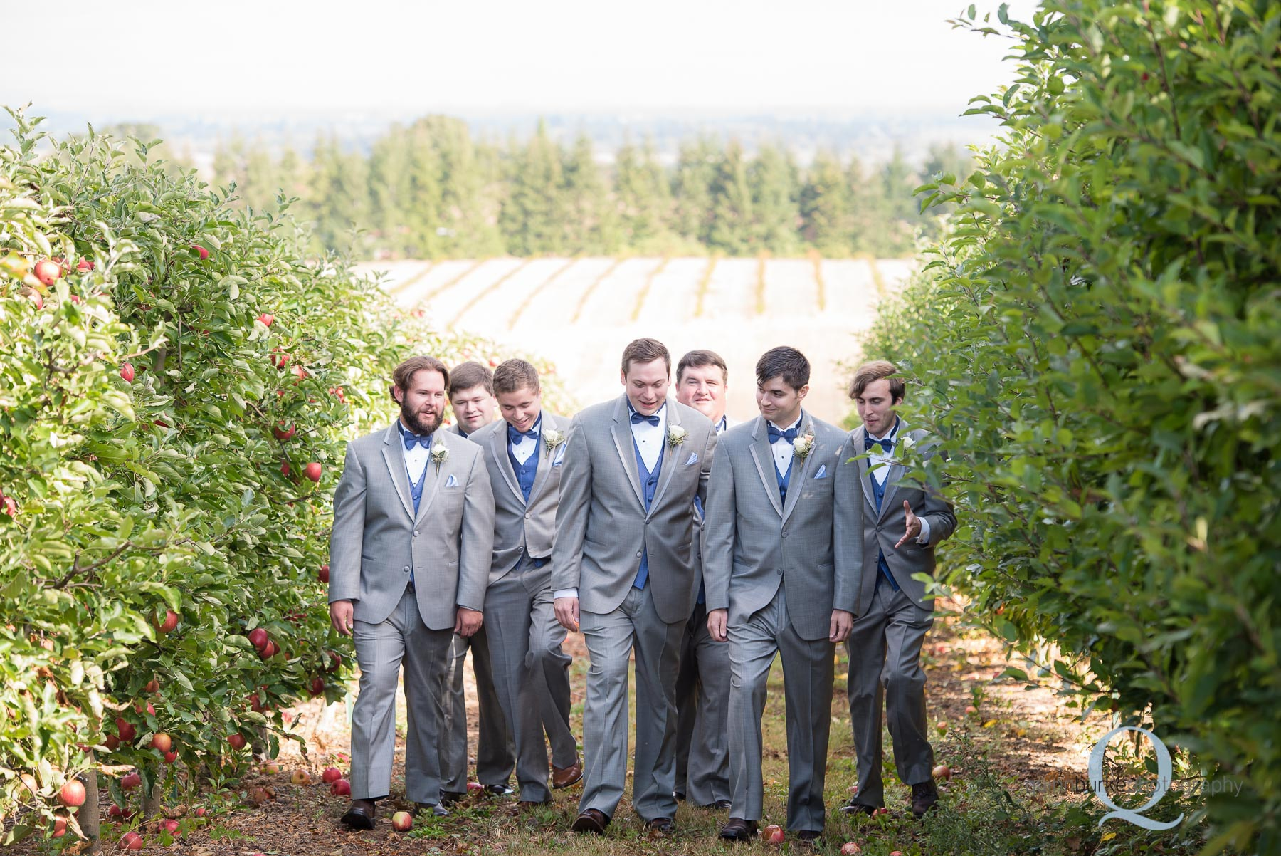 groomsmen walking in orchard at Perryhill Farm