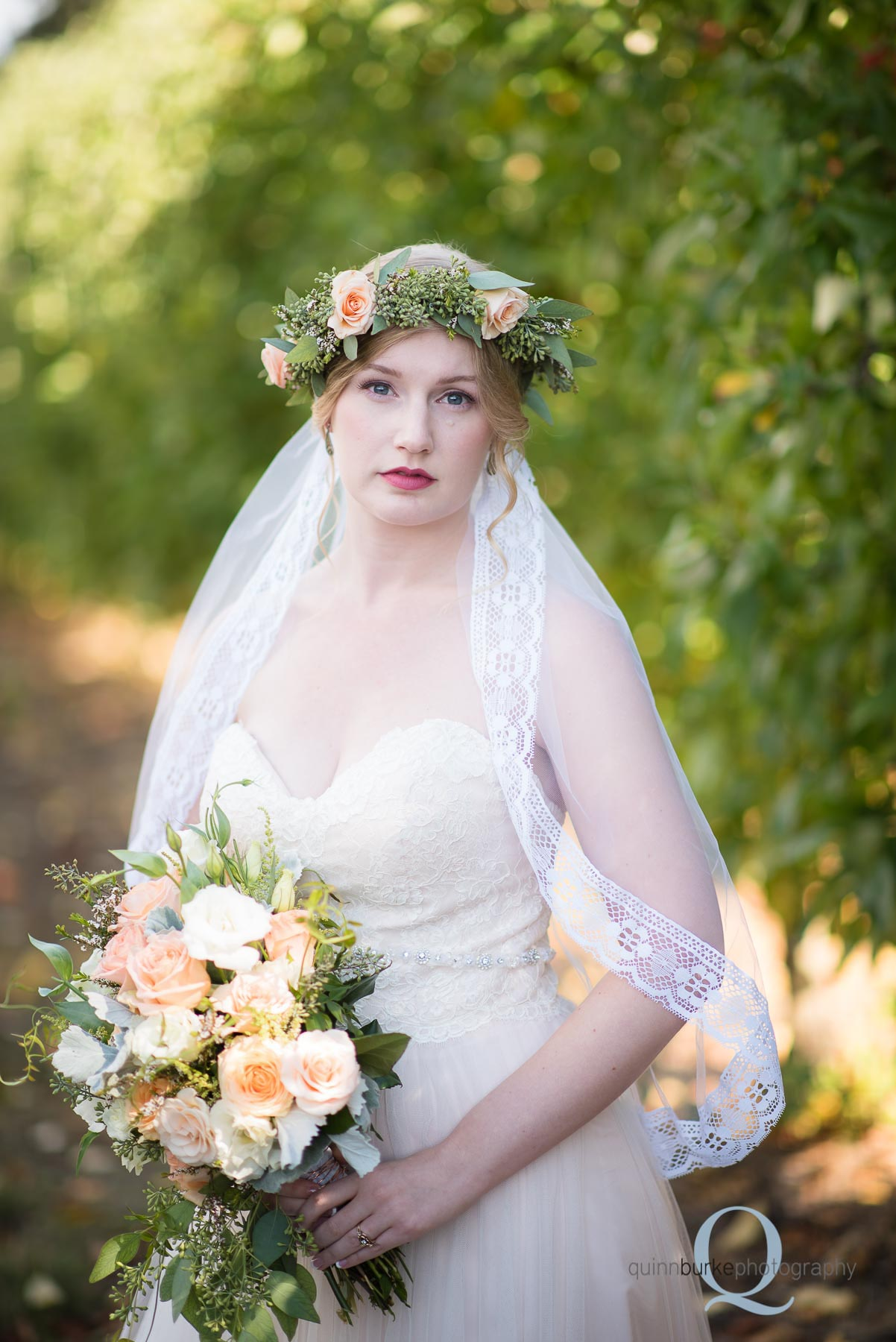 boho style bride in orchard Perryhill Farm