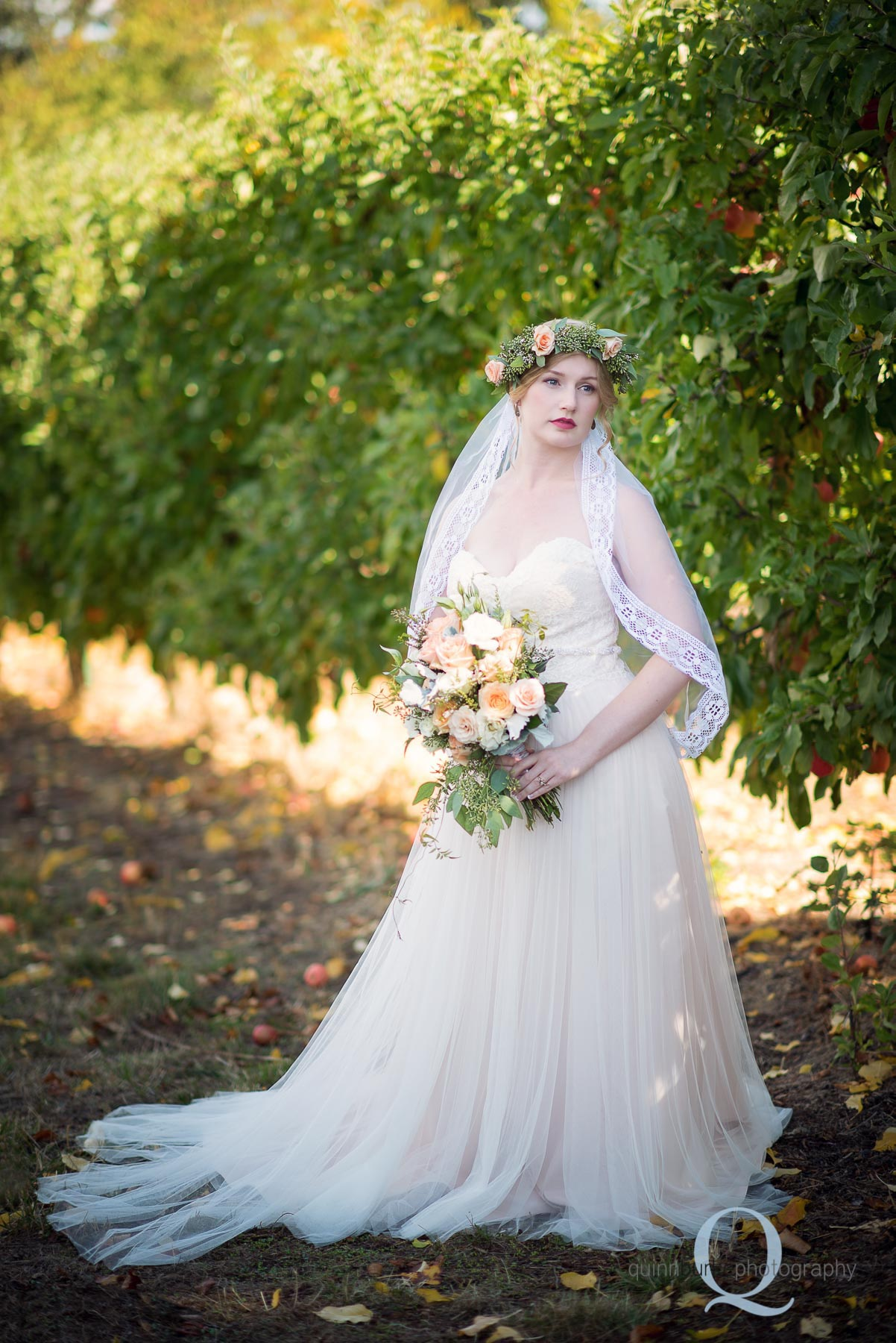 boho style bride in orchard Perryhill Farm wedding