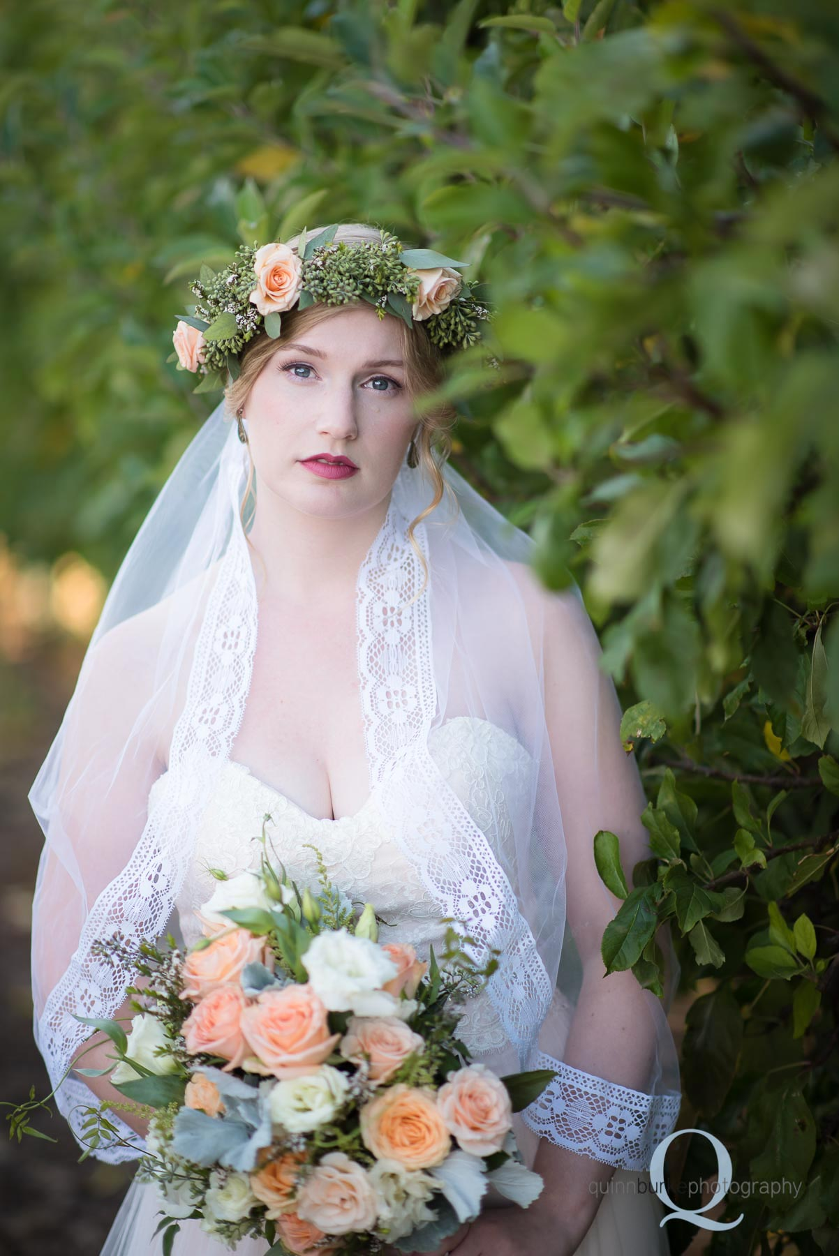oregon boho bride in orchard wedding Perryhill Farm