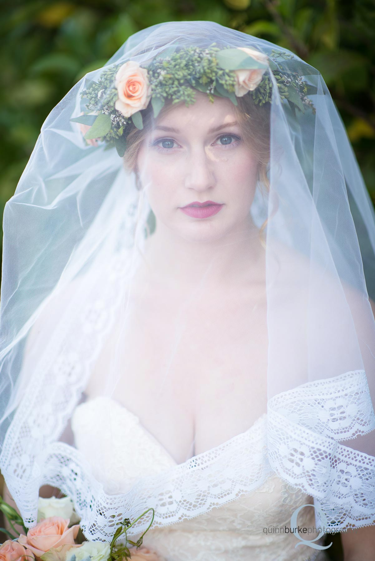 boho style bride with veil and flower crown oregon portland