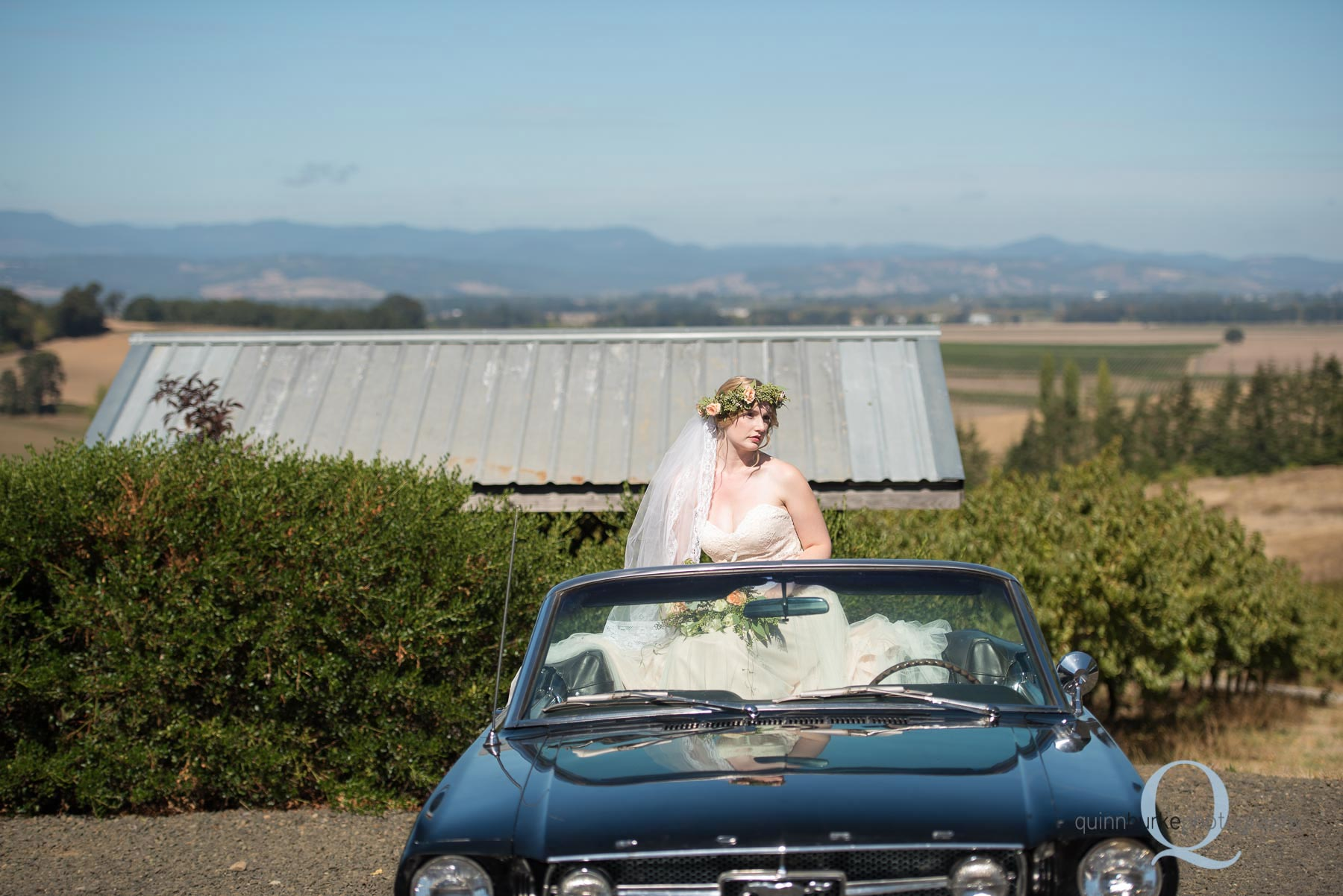 bride on top of classic mustang car wedding oregon Perryhill Farm
