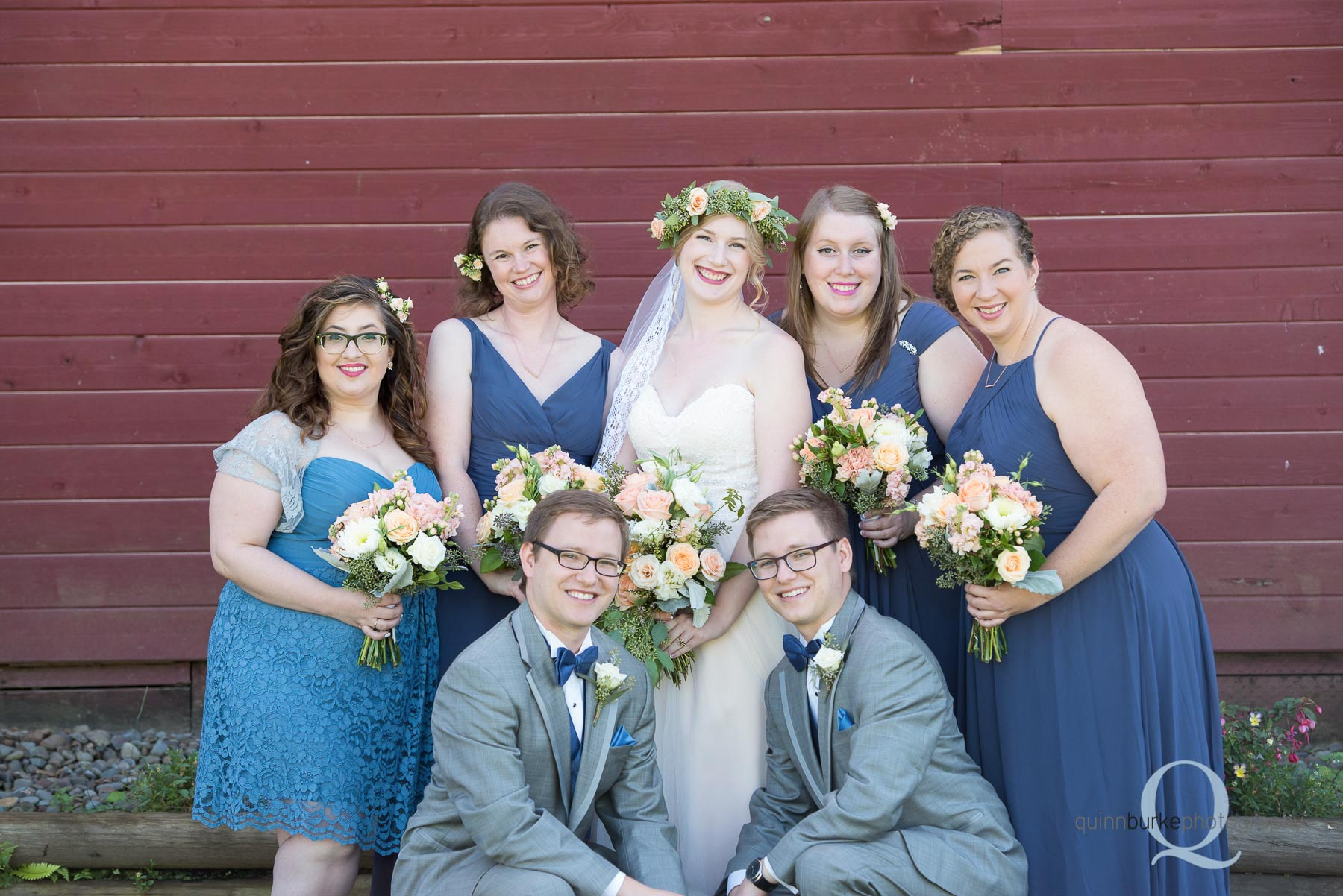 bridal party in front of barn at Perryhill Farm