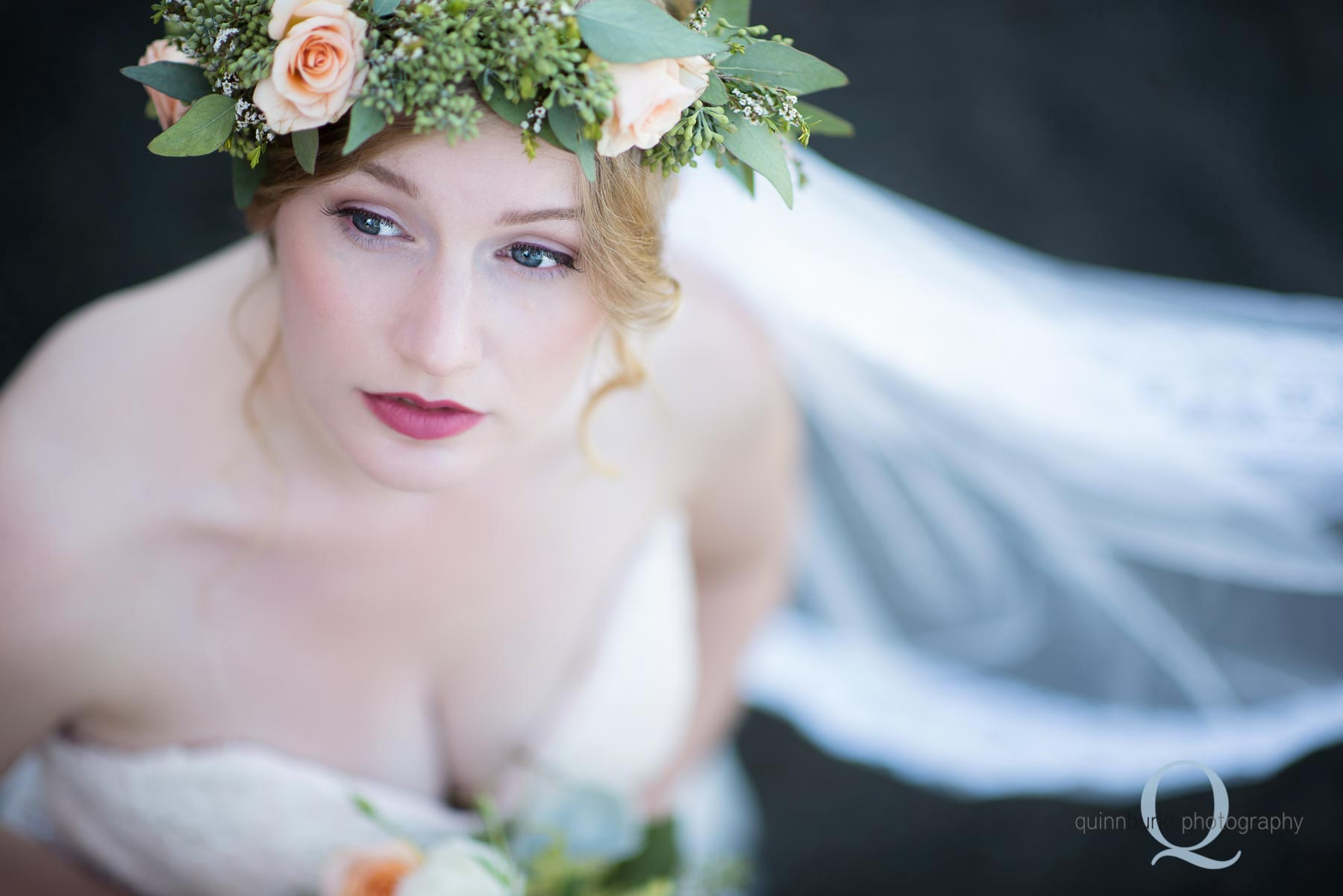 top view of bride flower crown wedding Perryhill Farm oregon