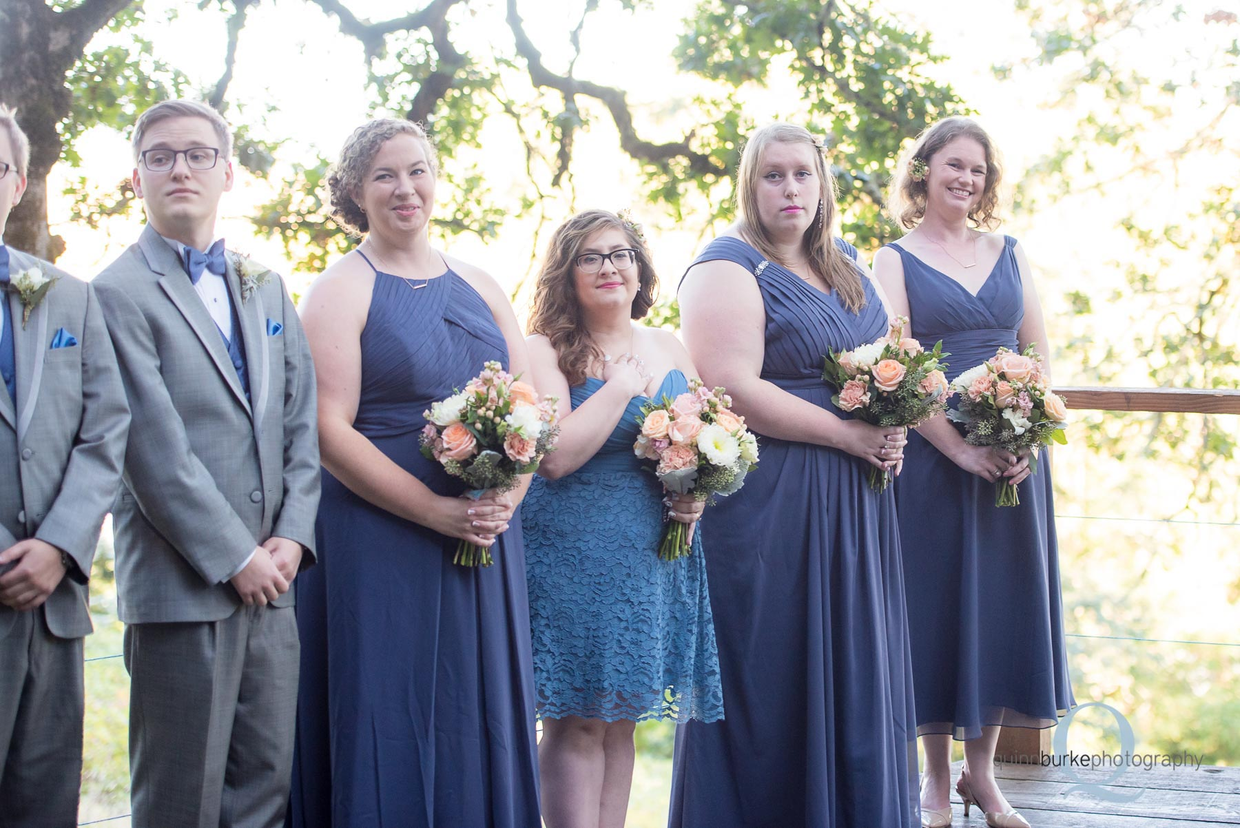 bridesmaids at wedding ceremony at Perryhill Farm