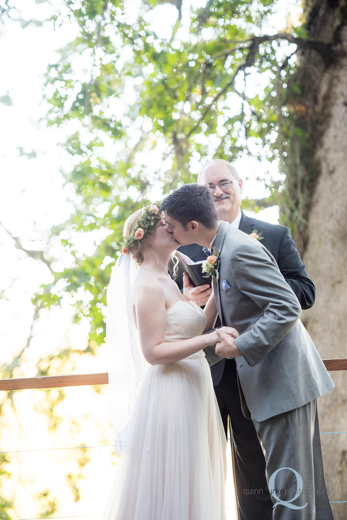 wedding first kiss at Perryhill Farm