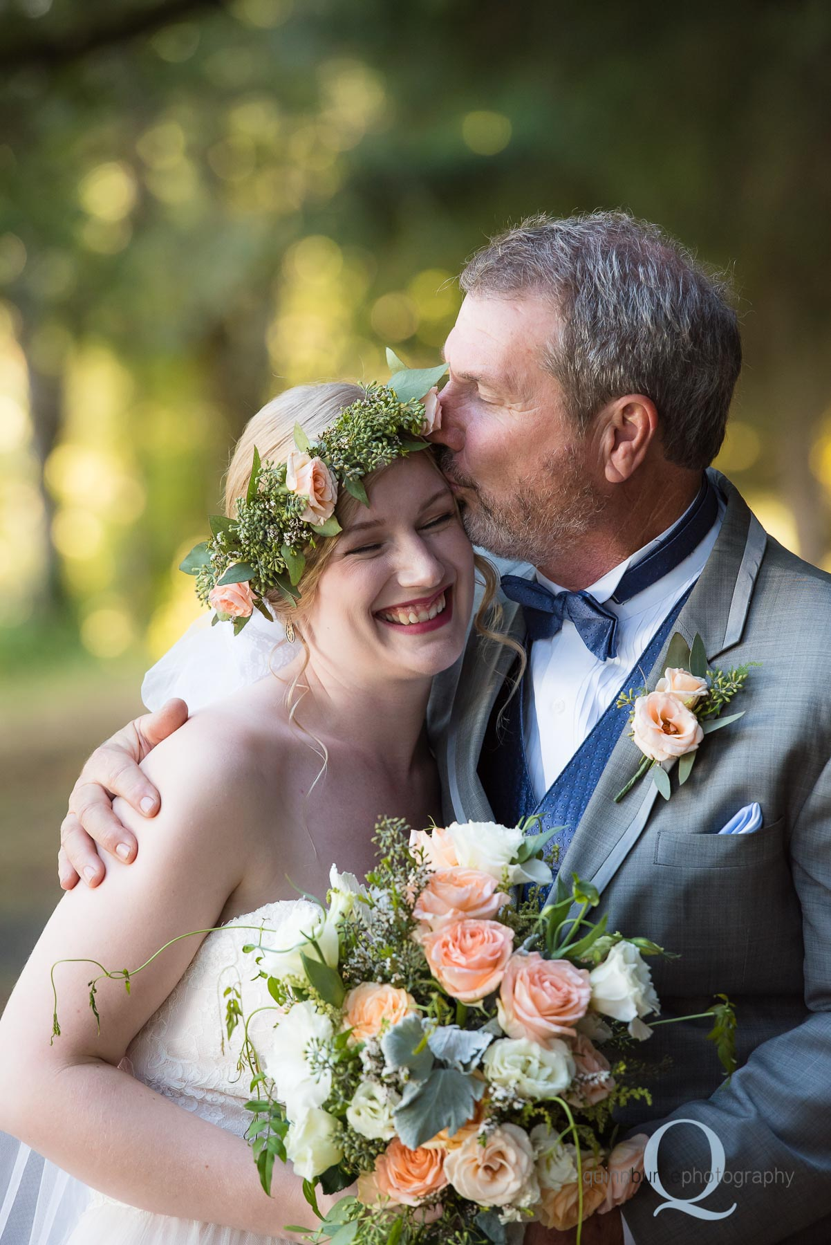 dad kisses bride daughter on forehead Perryhill Farm oregon