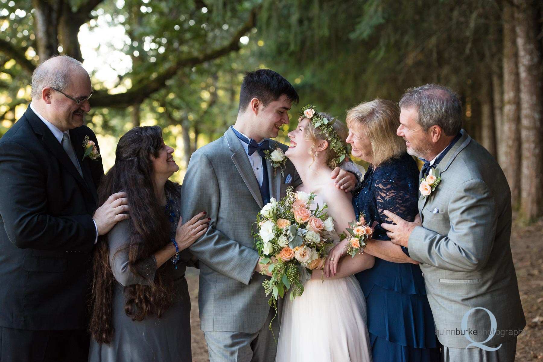parents with bride and groom after wedding Perryhill Farm oregon