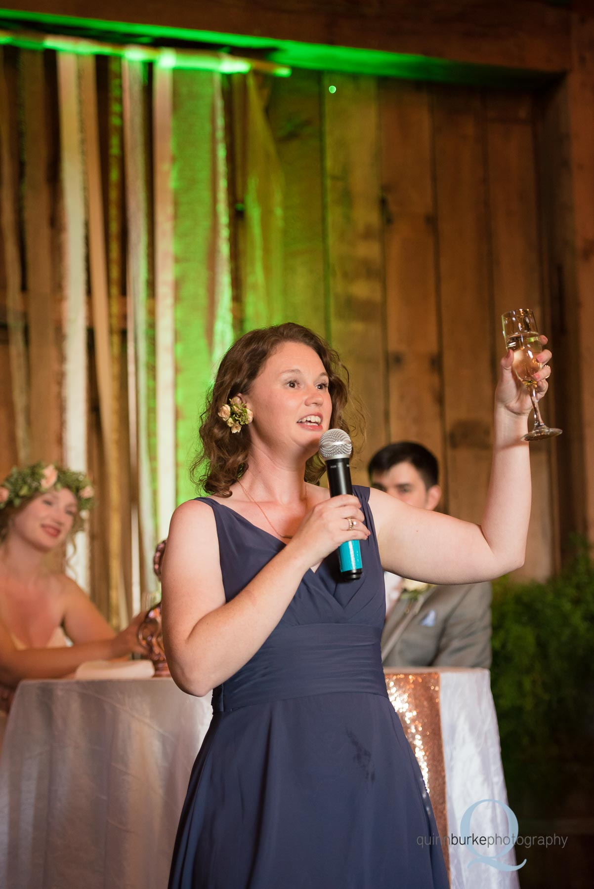 reception toasts in barn Perryhill Farm