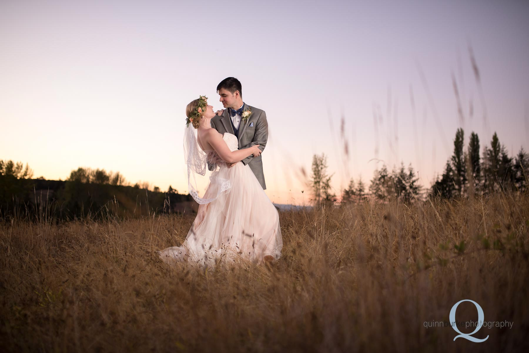 sunset bride and groom Perryhill Farm wedding