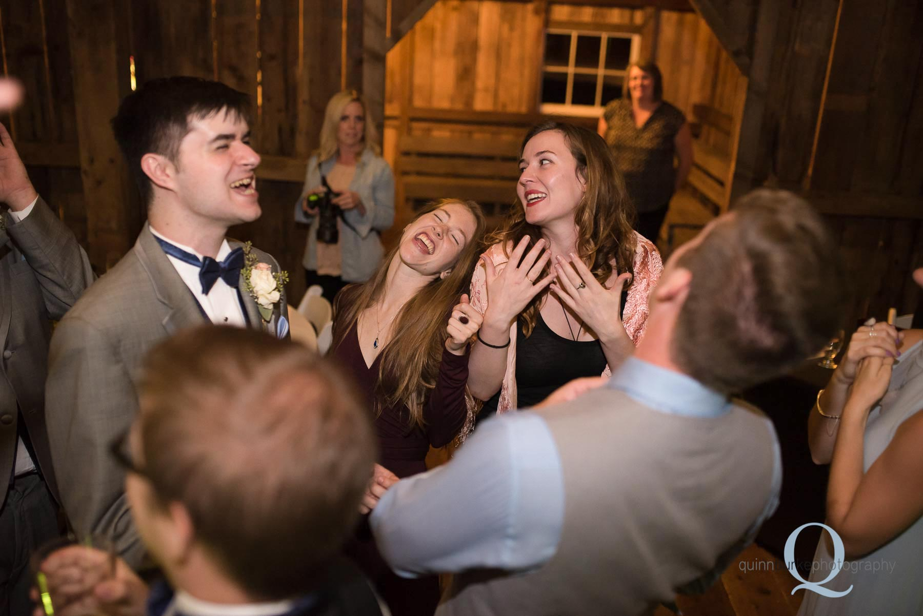 dancing in barn at Perryhill Farm wedding
