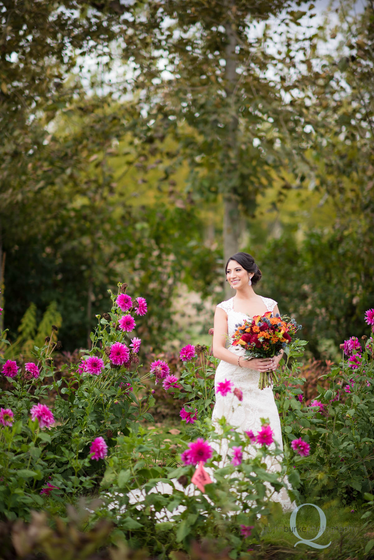 bride with flowers at Green Villa Barn wedding
