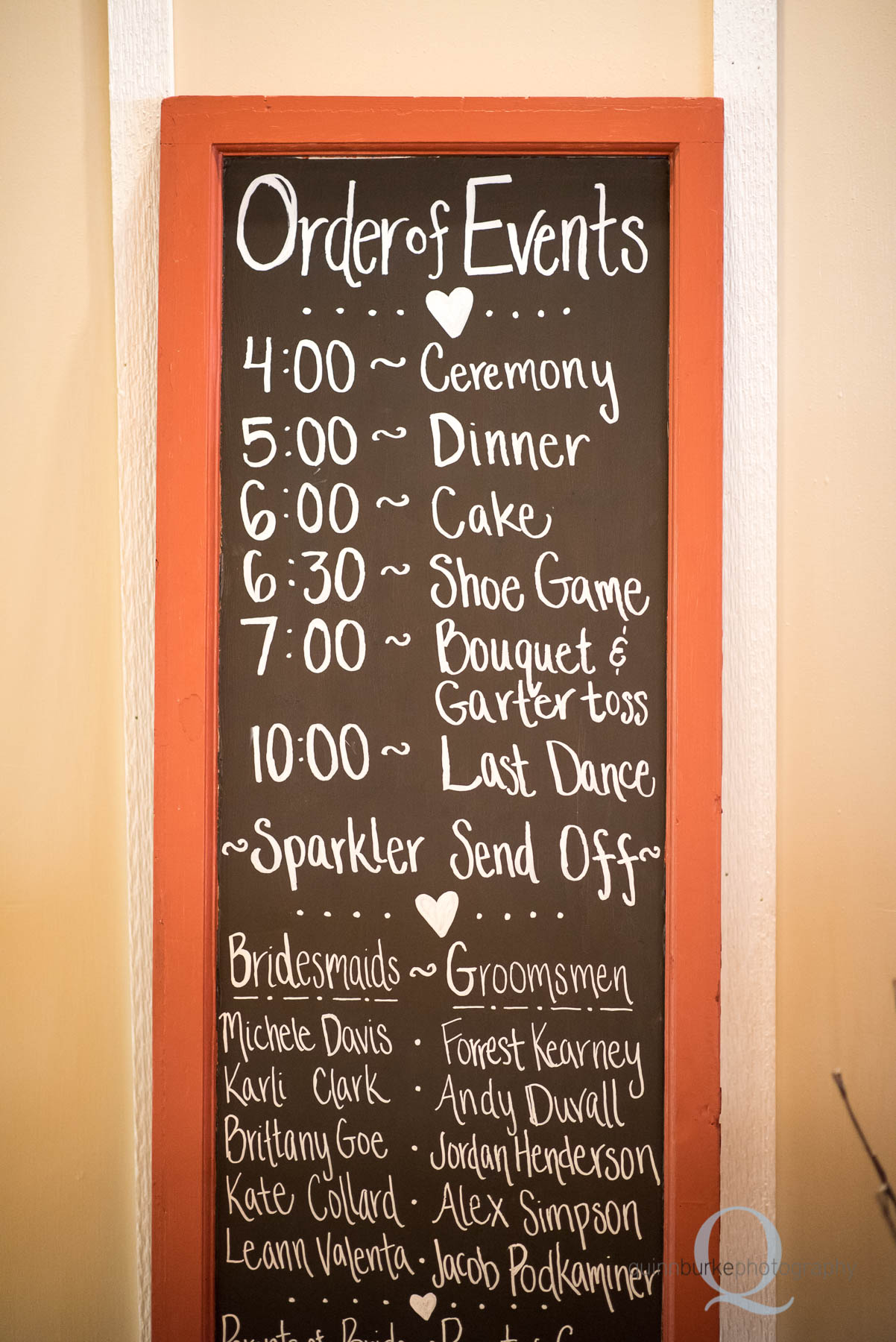order of events wedding chalkboard sign