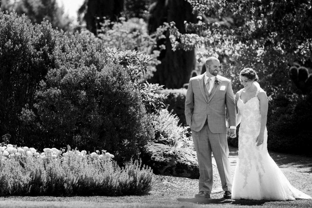 bride groom walking oregon gardens wedding silverton salem oregon