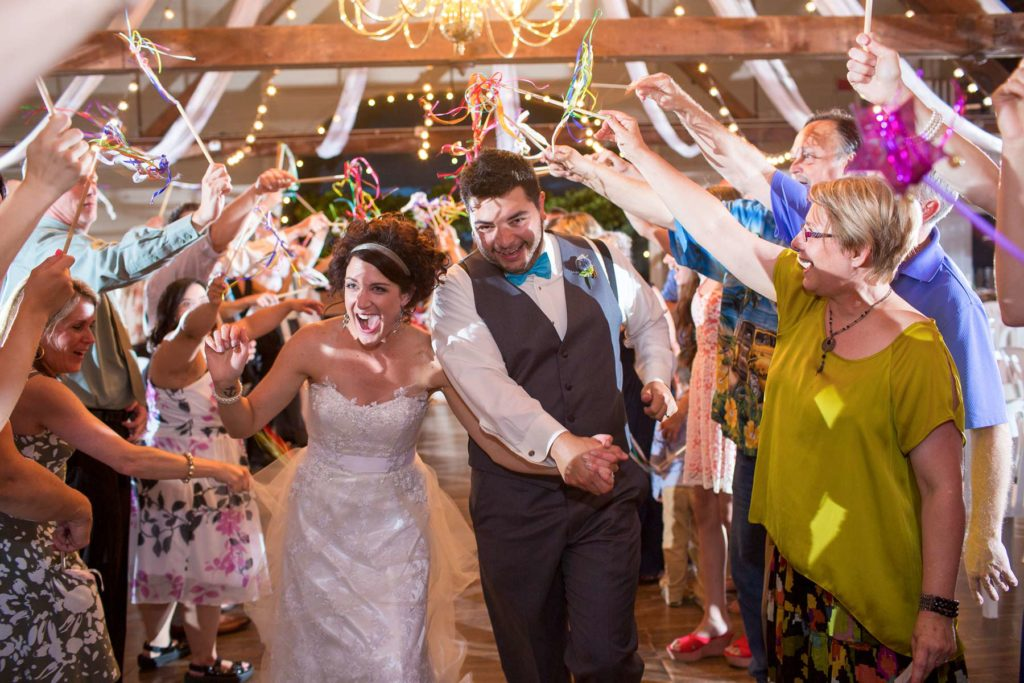 bride groom reception exit green villa barn wedding salem oregon