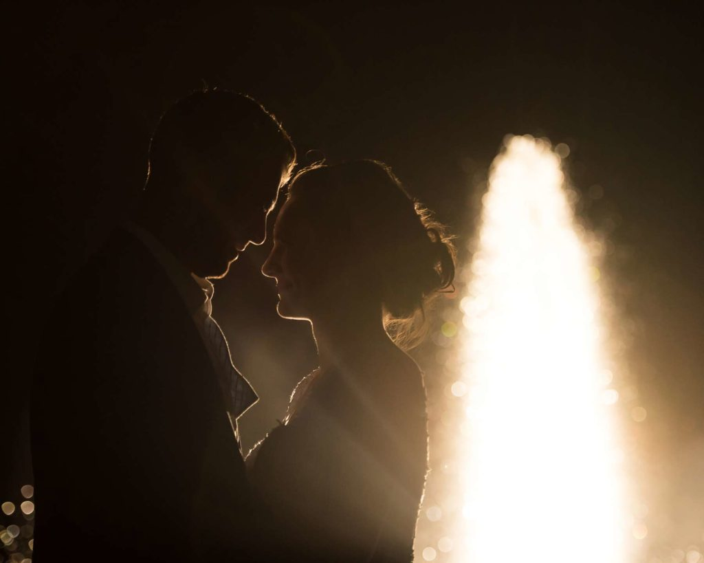 bride groom silhouette golden fountain zenith vineyard wedding salem oregon