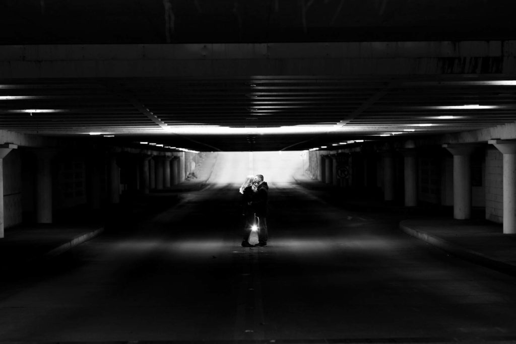 engagement portrait parking garage black and white salem oregon