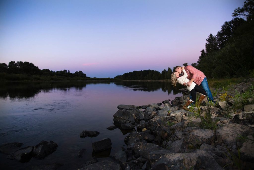 engagement portrait sunset minto brown park dip kiss