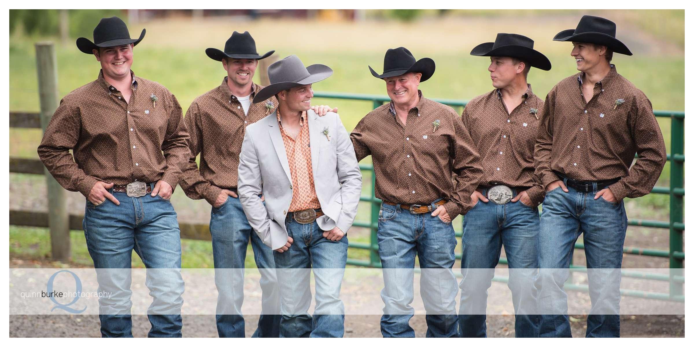 Cowboy Groomsmen And Groom Walking