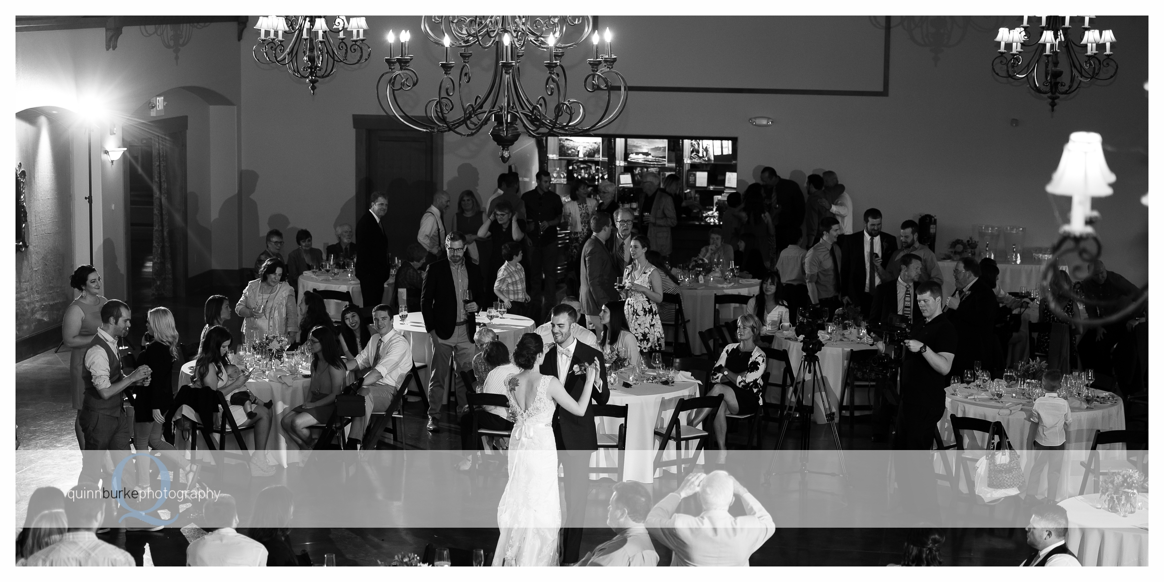 black and white first dance at zenith vineyard