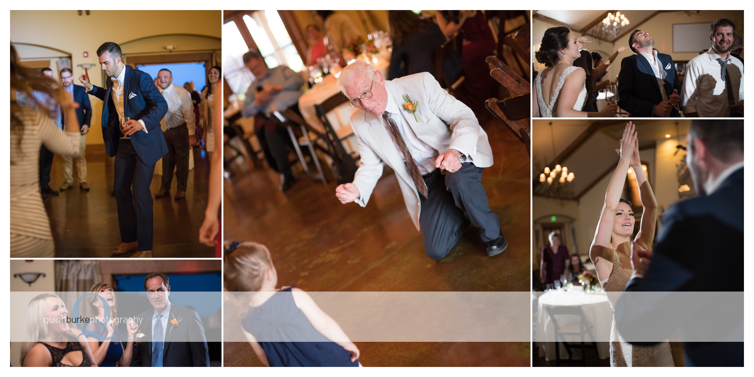 guests dancing at vineyard wedding