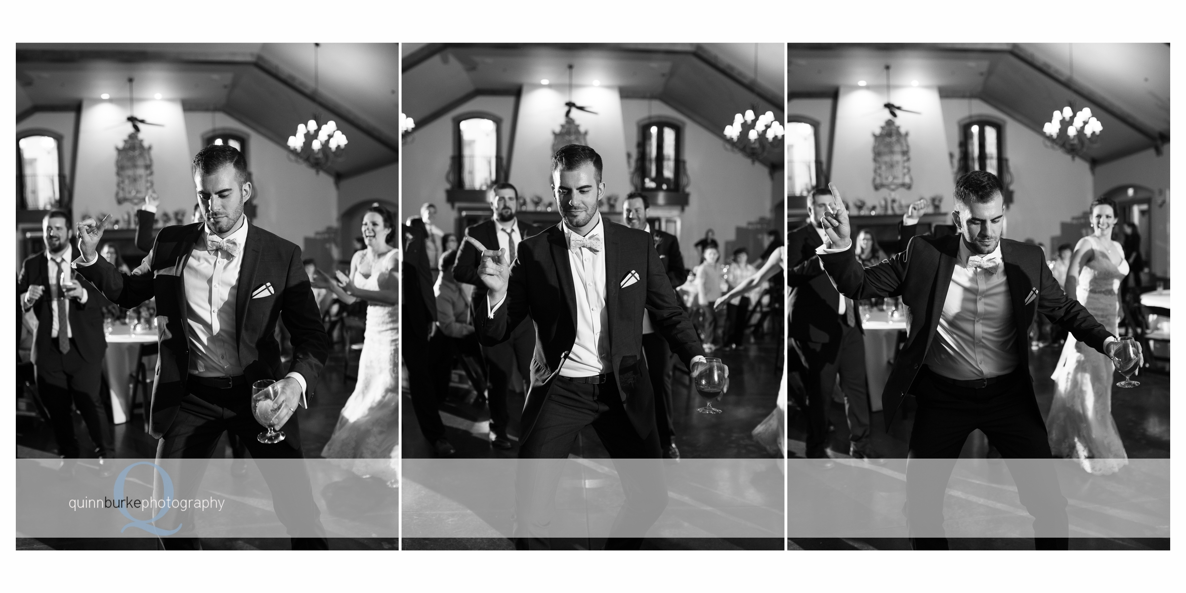 black and white groom dancing