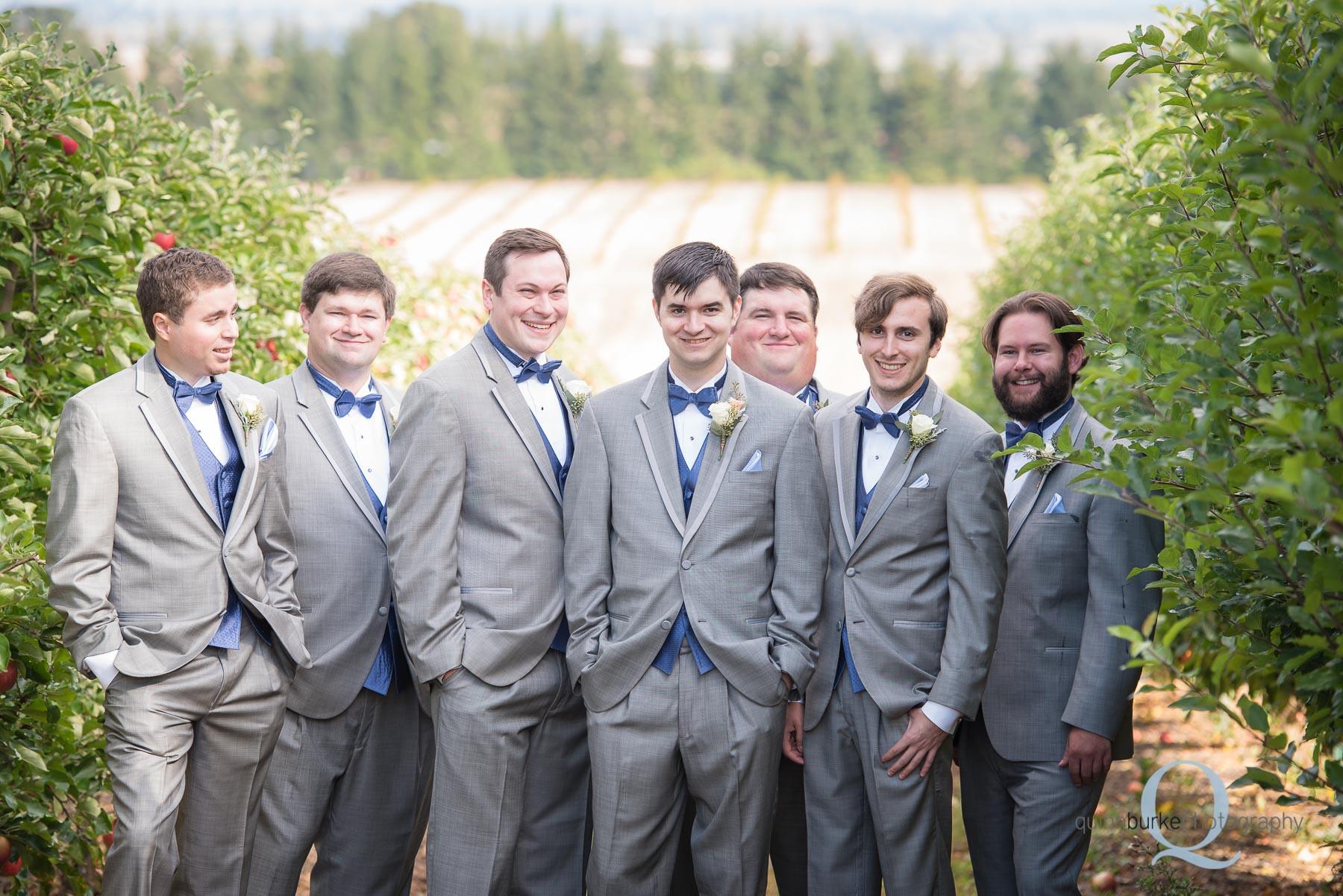 groomsmen wedding in orchard Perryhill Farm