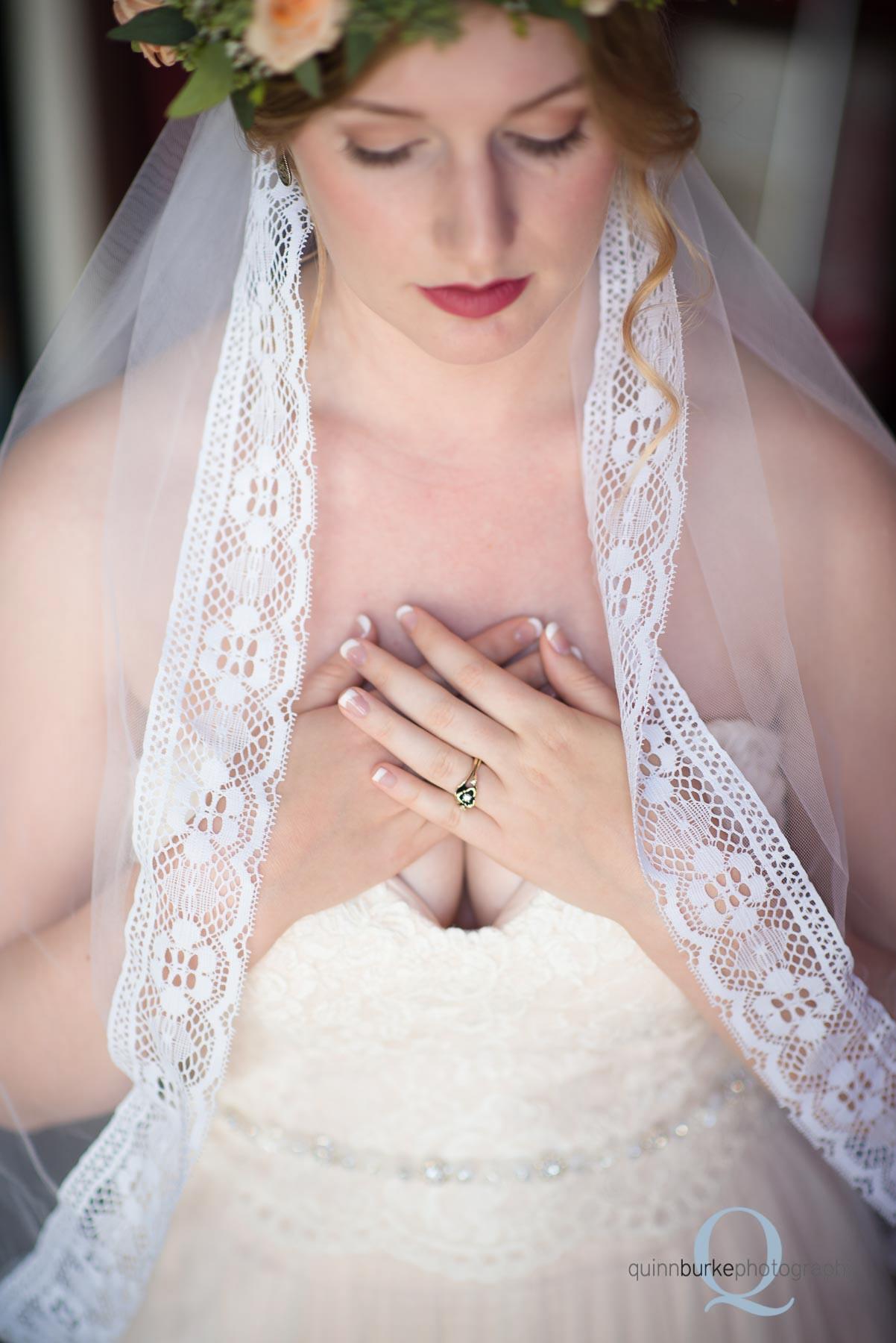 bridal veil and rings before wedding Perryhill Farm