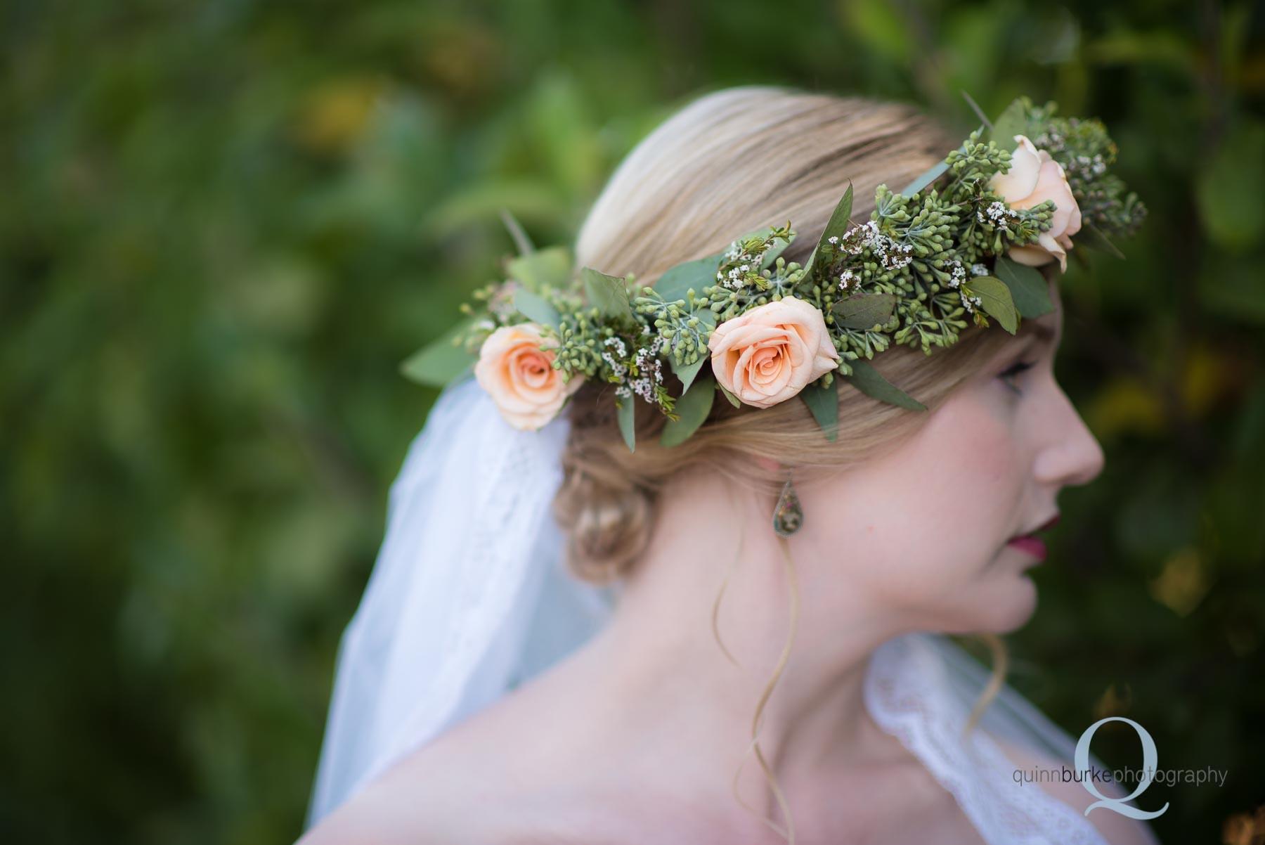 boho style bride with flower crown wedding Perryhill Farm oregon
