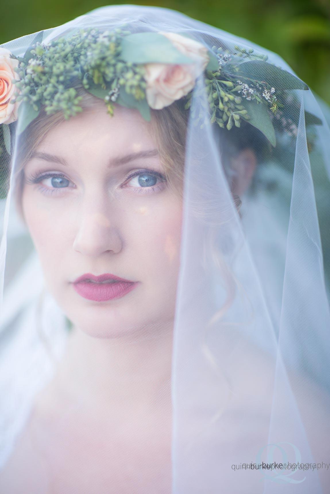 portland oregon boho style bride with veil flower crown Perryhill Farm