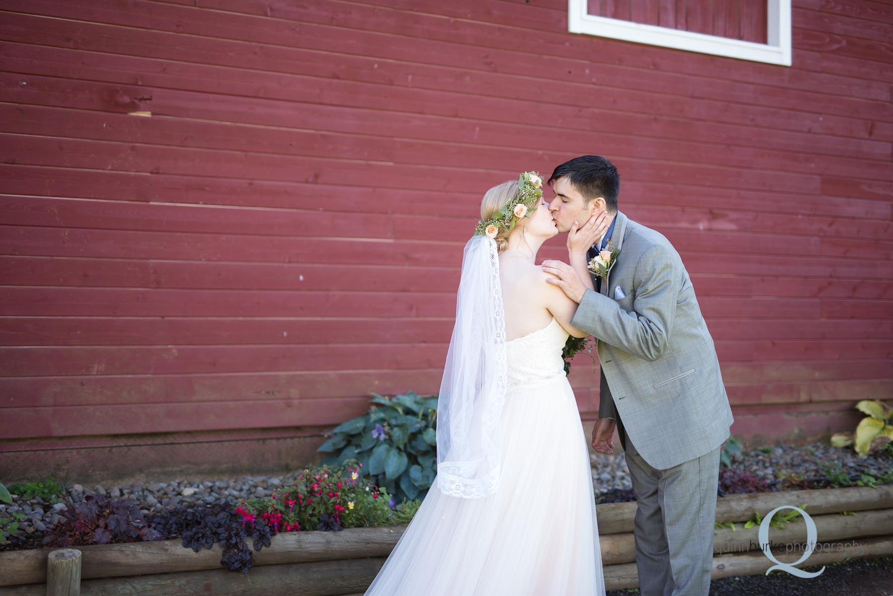 first look before wedding at Perryhill Farm oregon