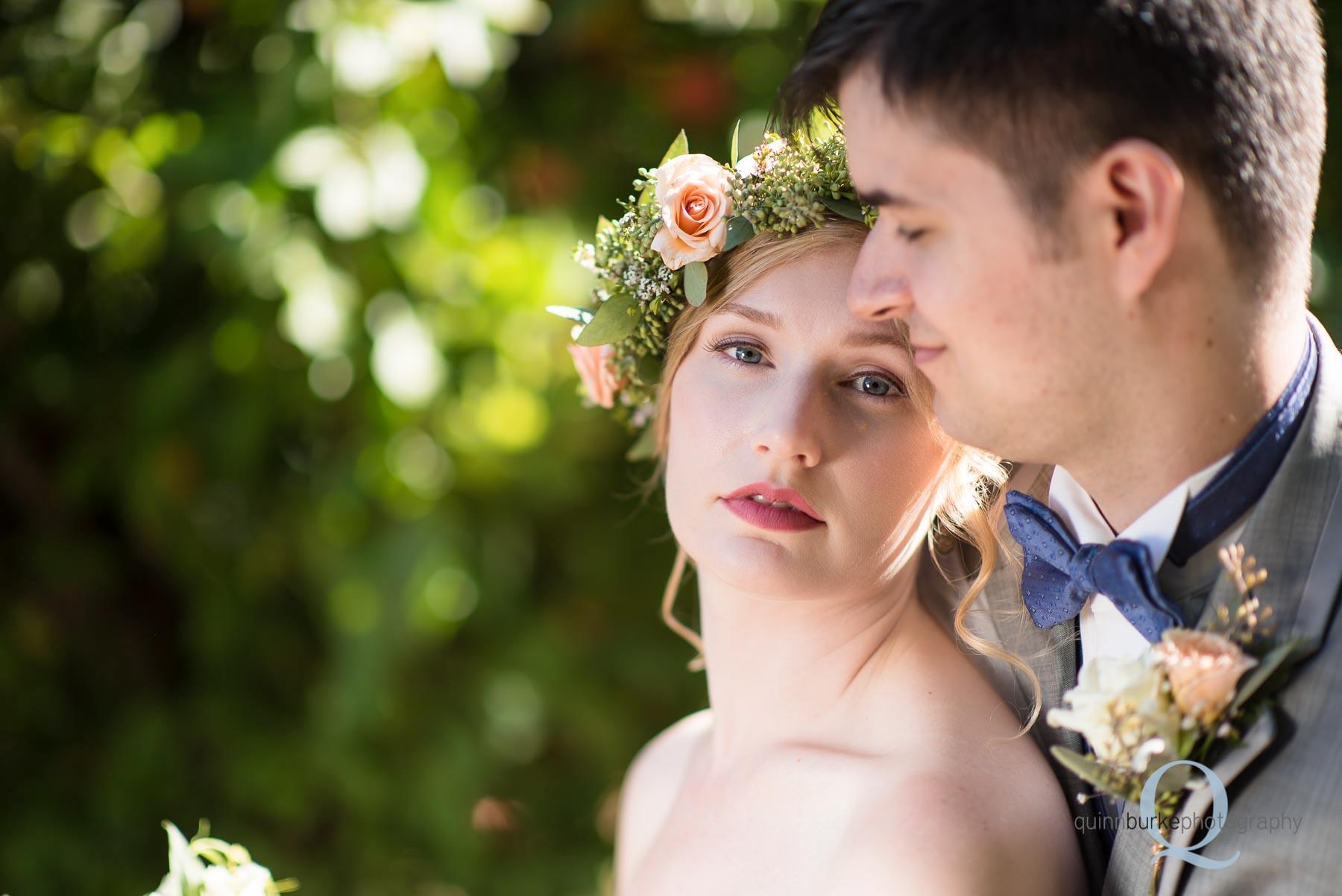 bride flower crown groom Perryhill Farm orchard wedding oregon