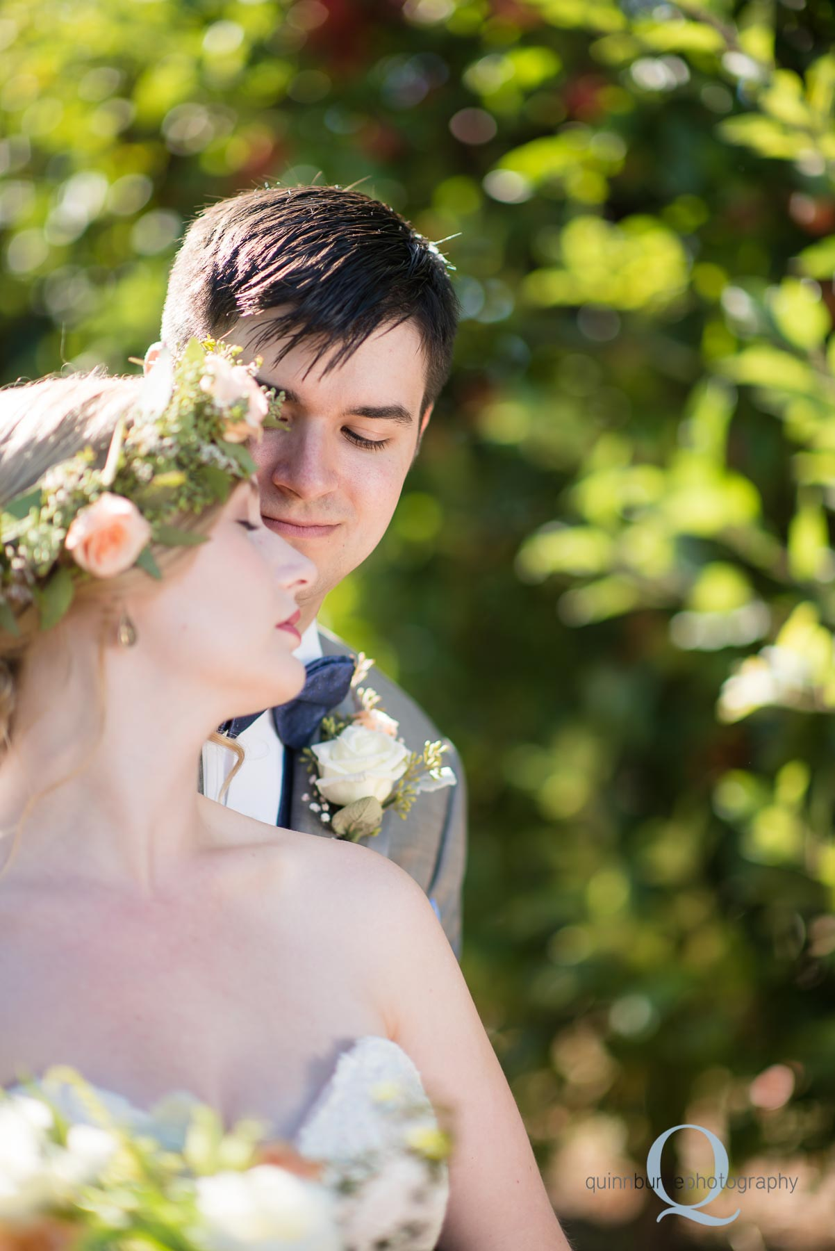 bride and groom in orchard before wedding Perryhill Farm