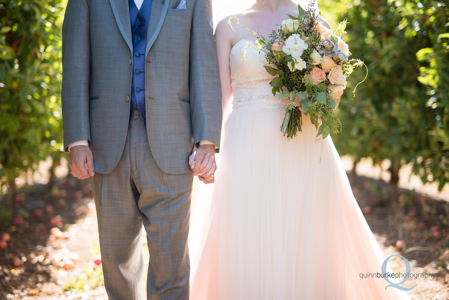 bride and groom holding hands before wedding Perryhill Farm