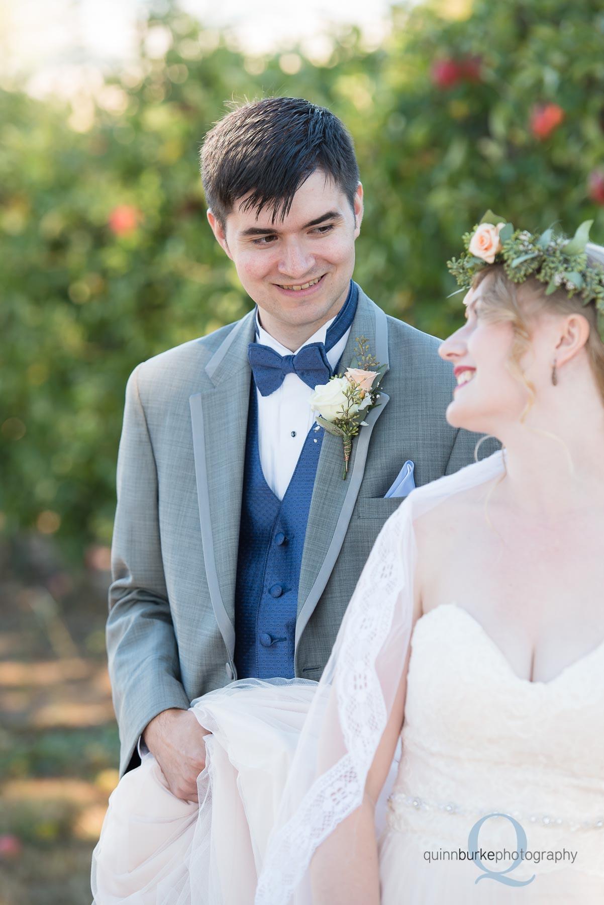 groom looking at bride wedding Perryhill Farm