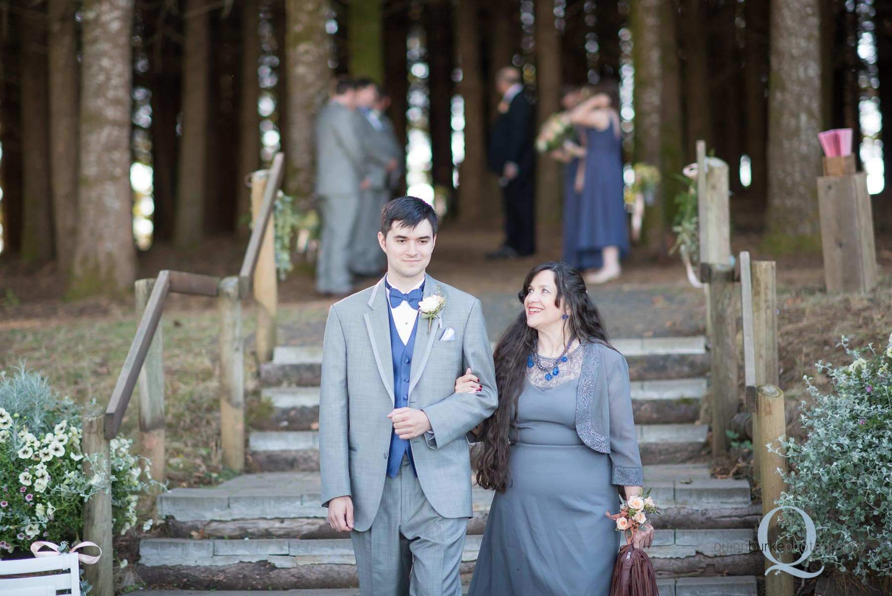 mom walking with groom down aisle Perryhill Farm