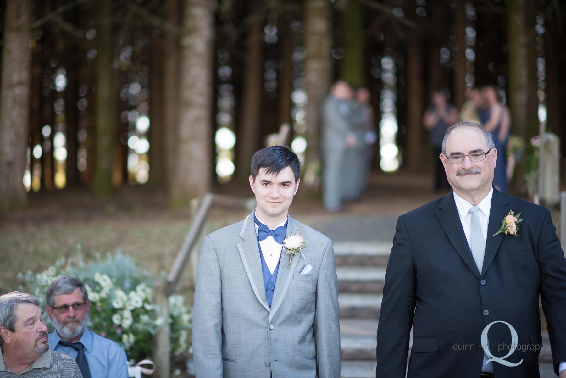groom and dad at Perryhill Farm wedding