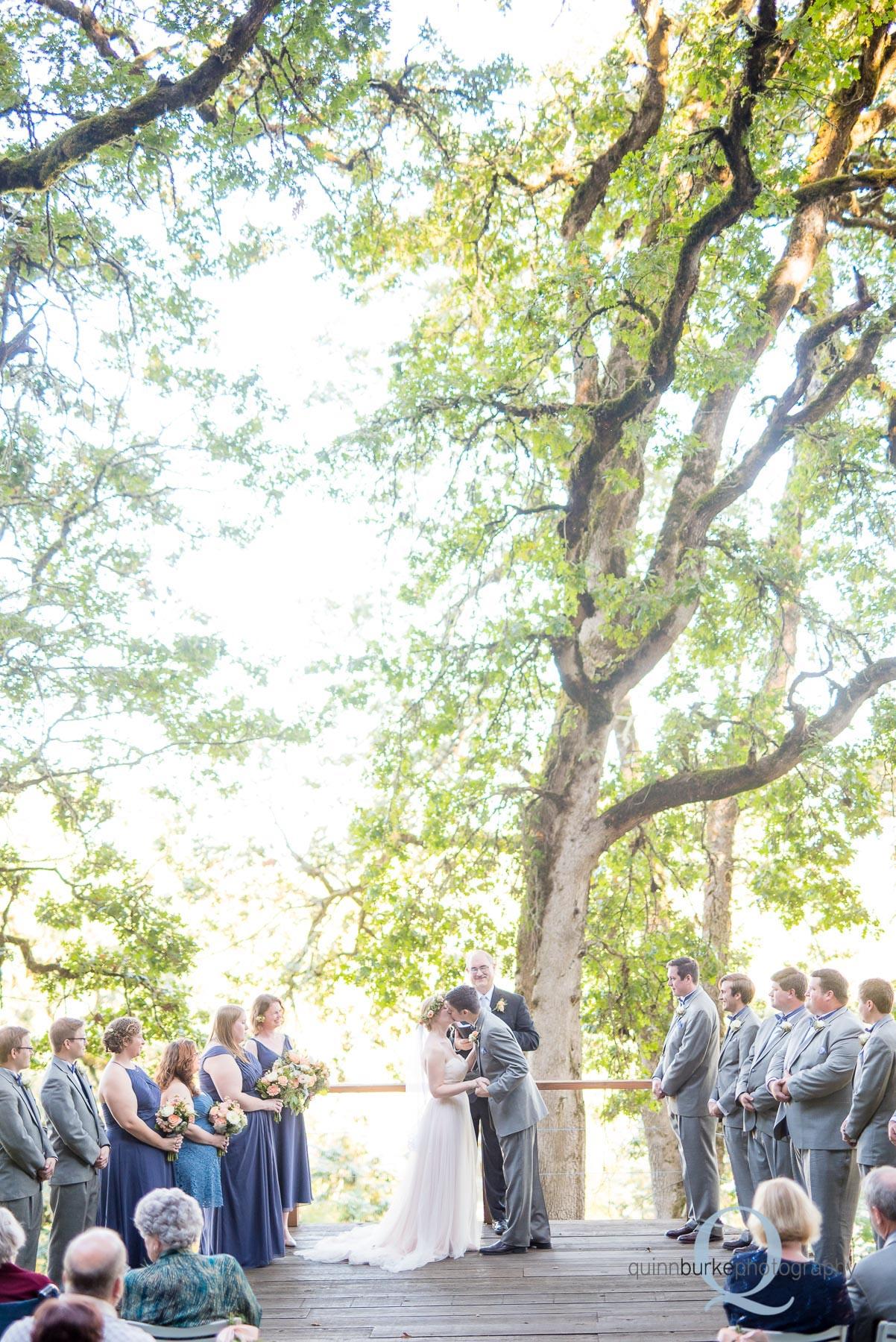 wedding ceremony Perryhill Farm oregon first kiss