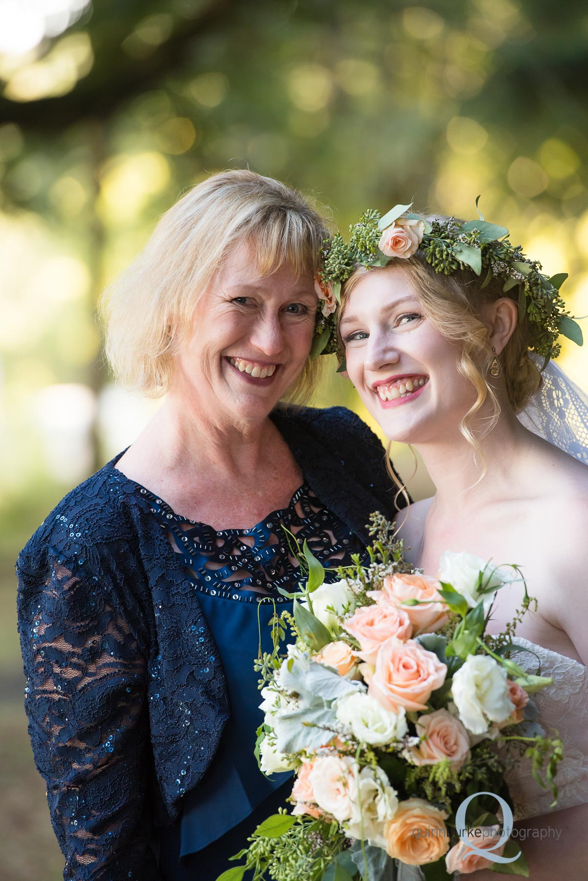 bride and mom portrait after wedding Perryhill Farm