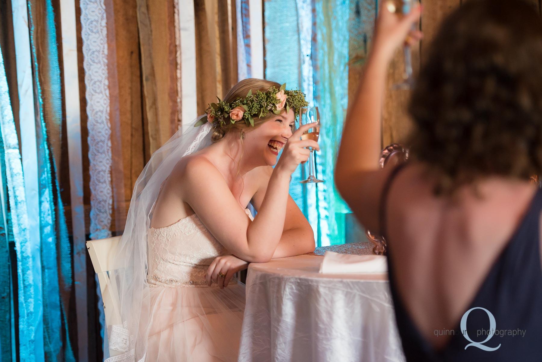 bride toasts wedding reception Perryhill Farm