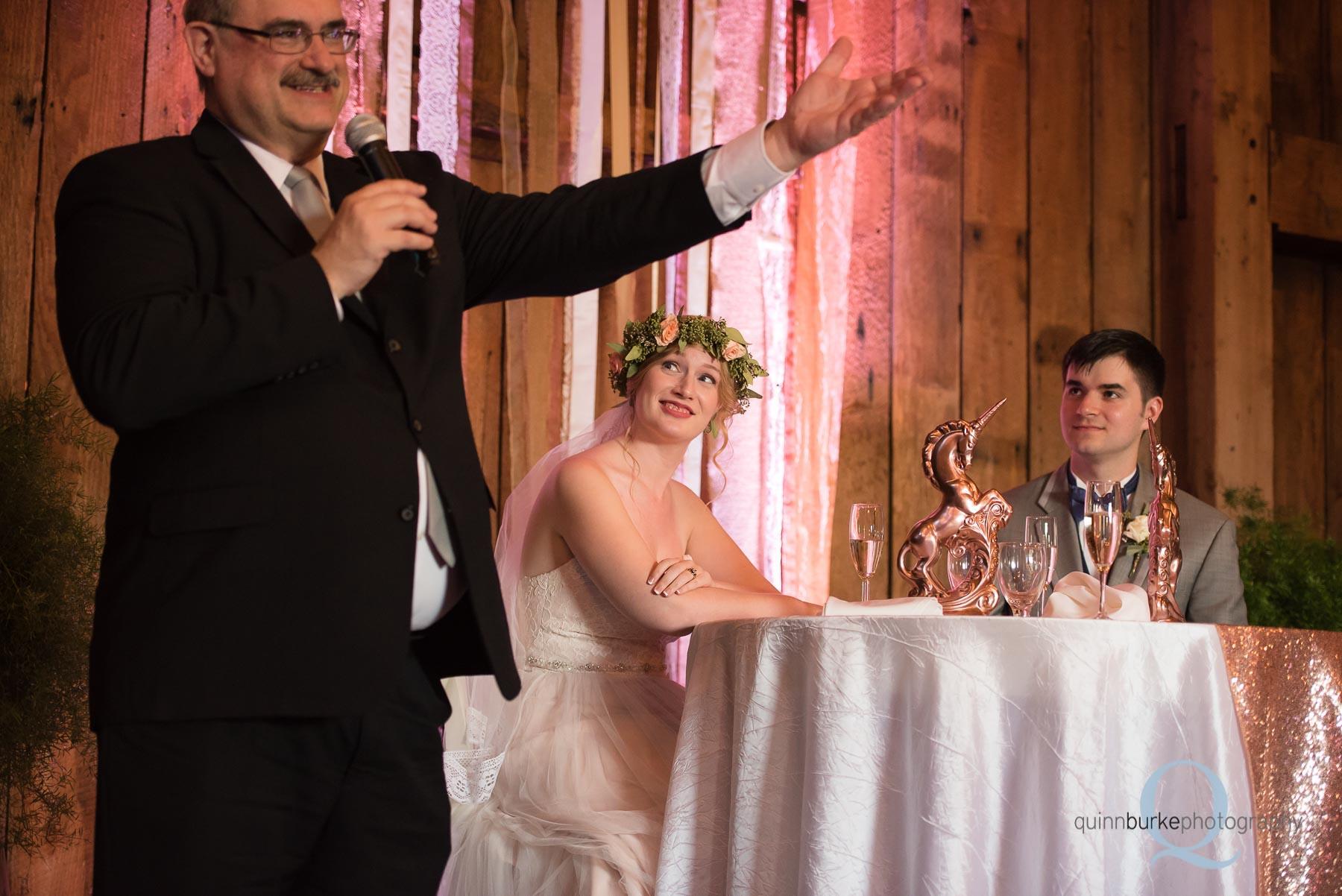 father of groom toast at wedding reception at Perryhill Farm barn oregon