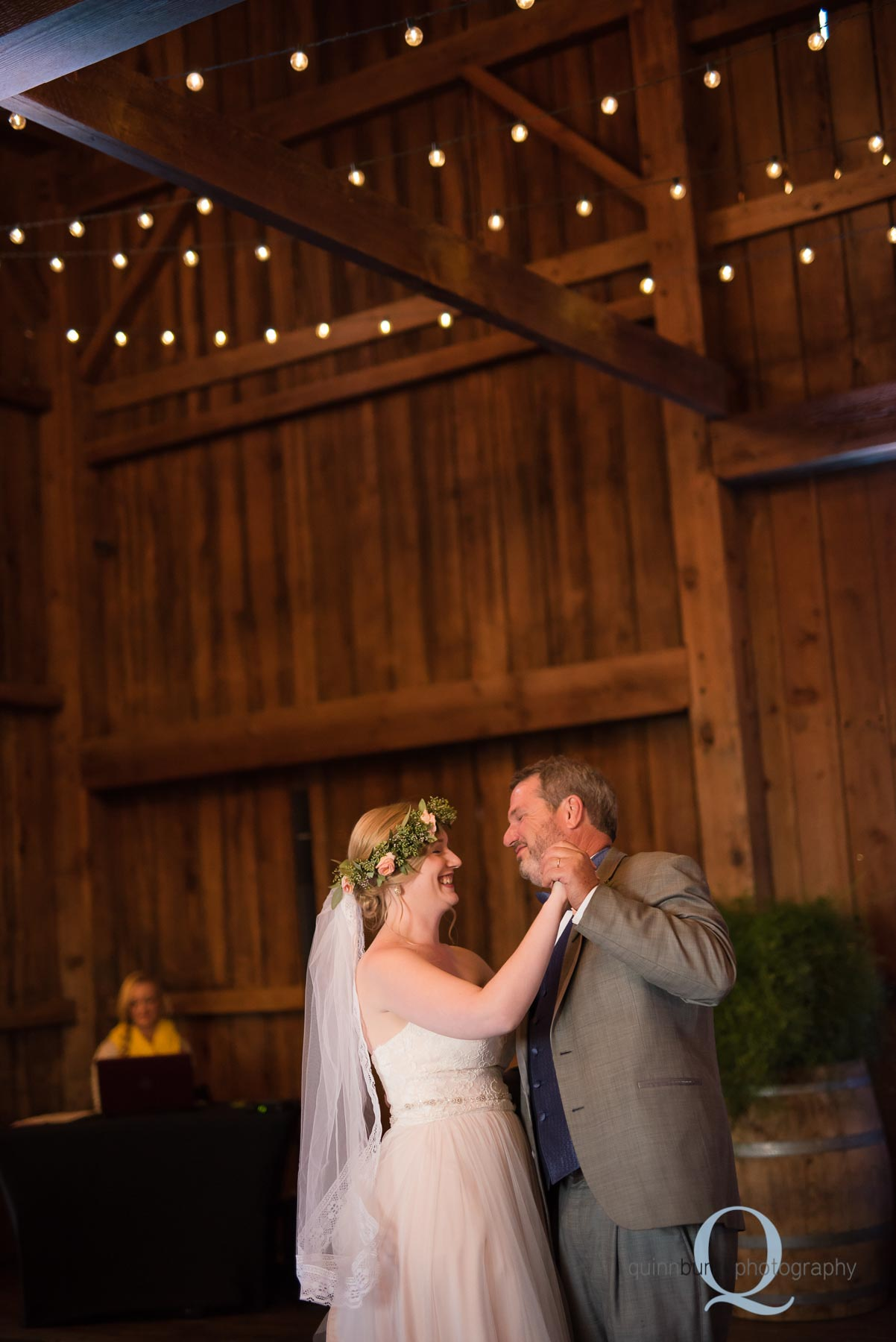 father daughter dance in barn at Perryhill Farm