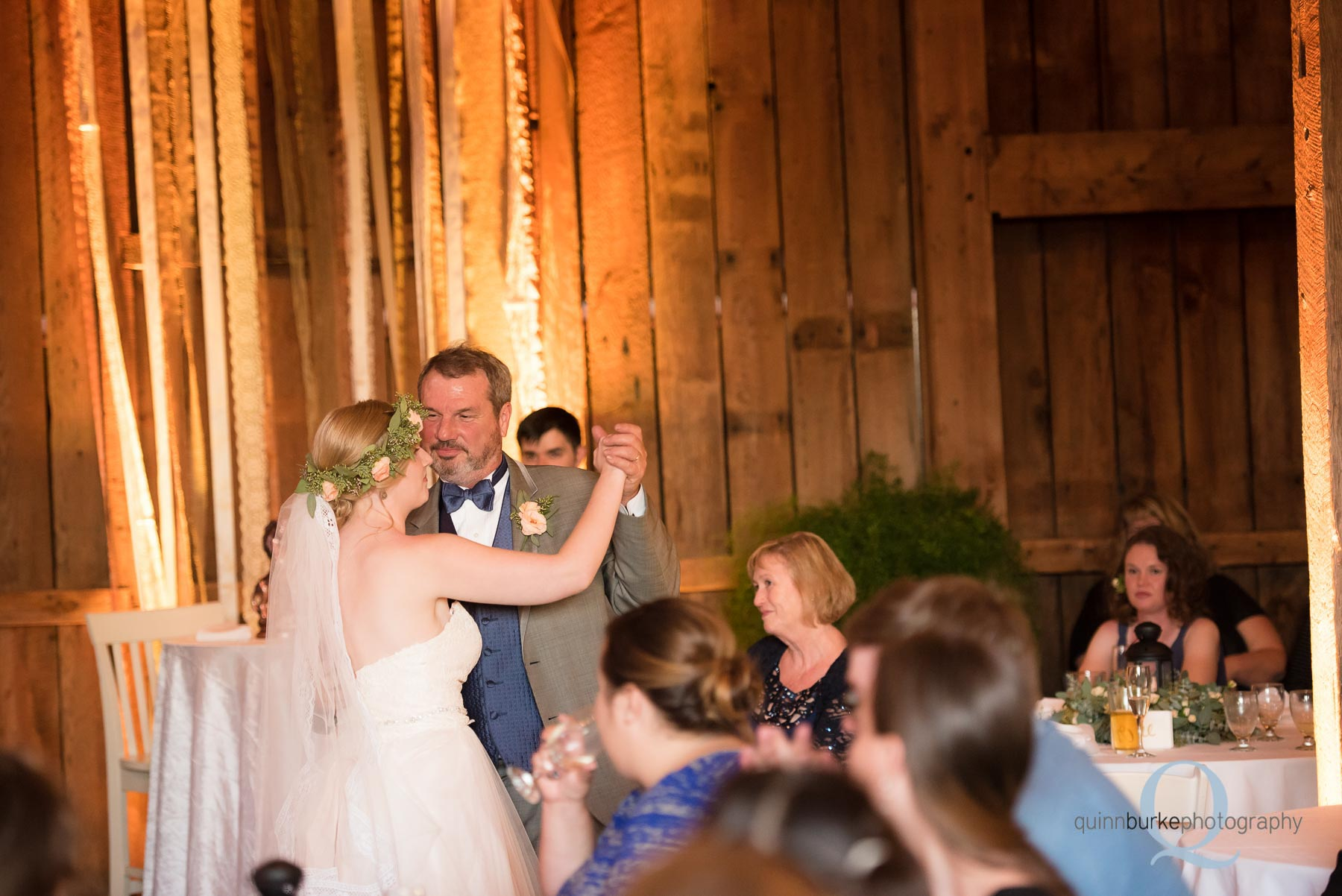 father daughter dance in barn wedding Perryhill Farm oregon