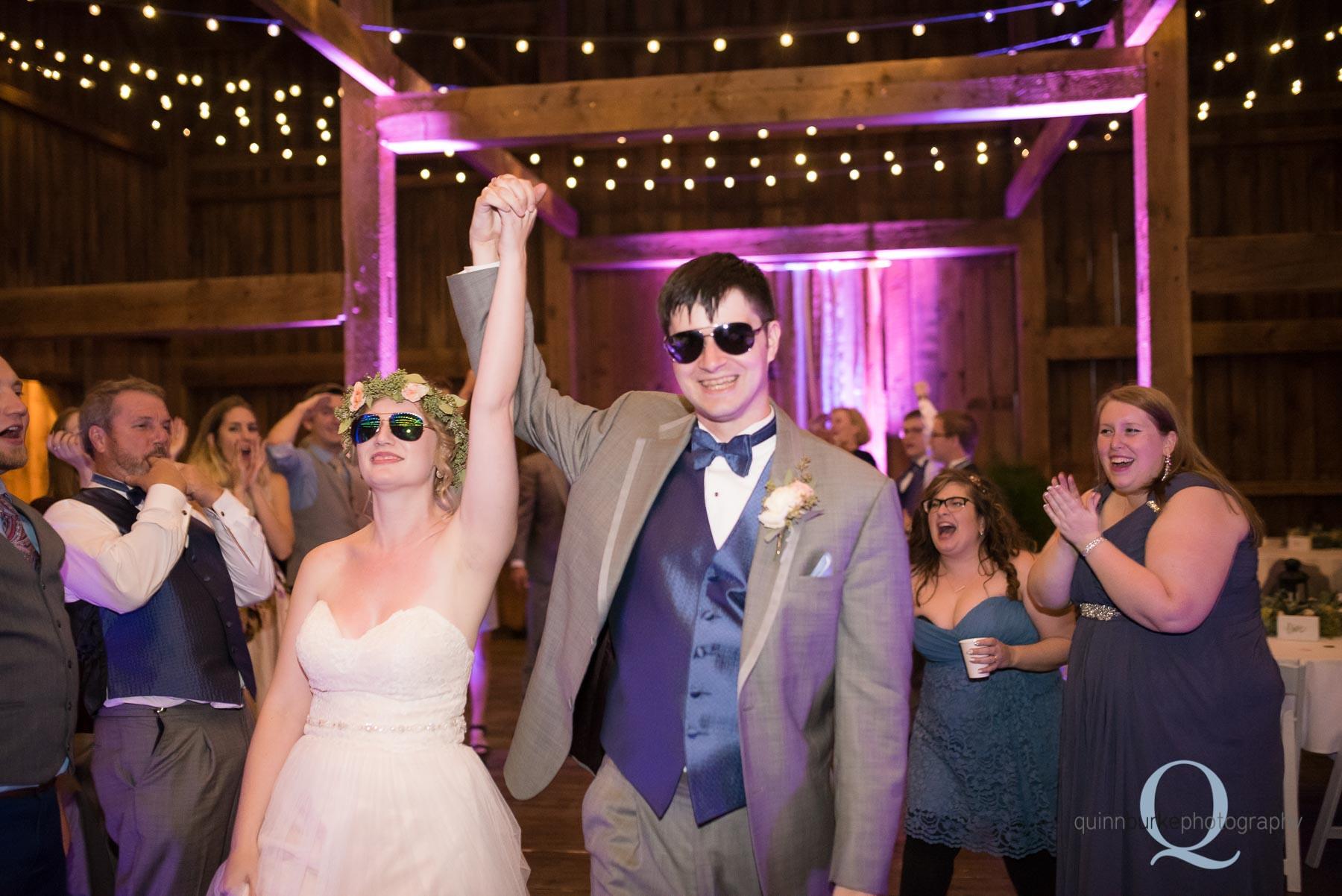 bride and groom exit Perryhill Farm barn wedding oregon