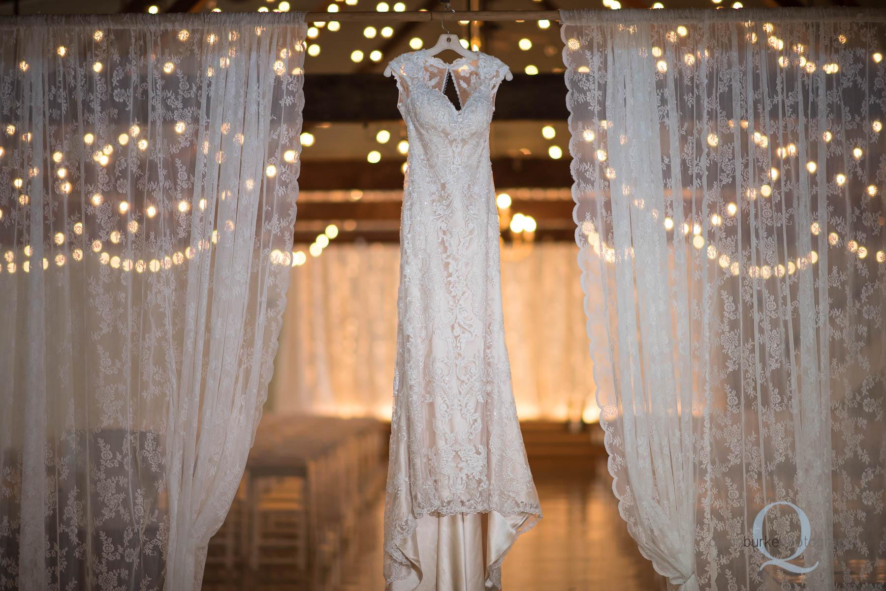 wedding dress hanging at Green Villa Barn