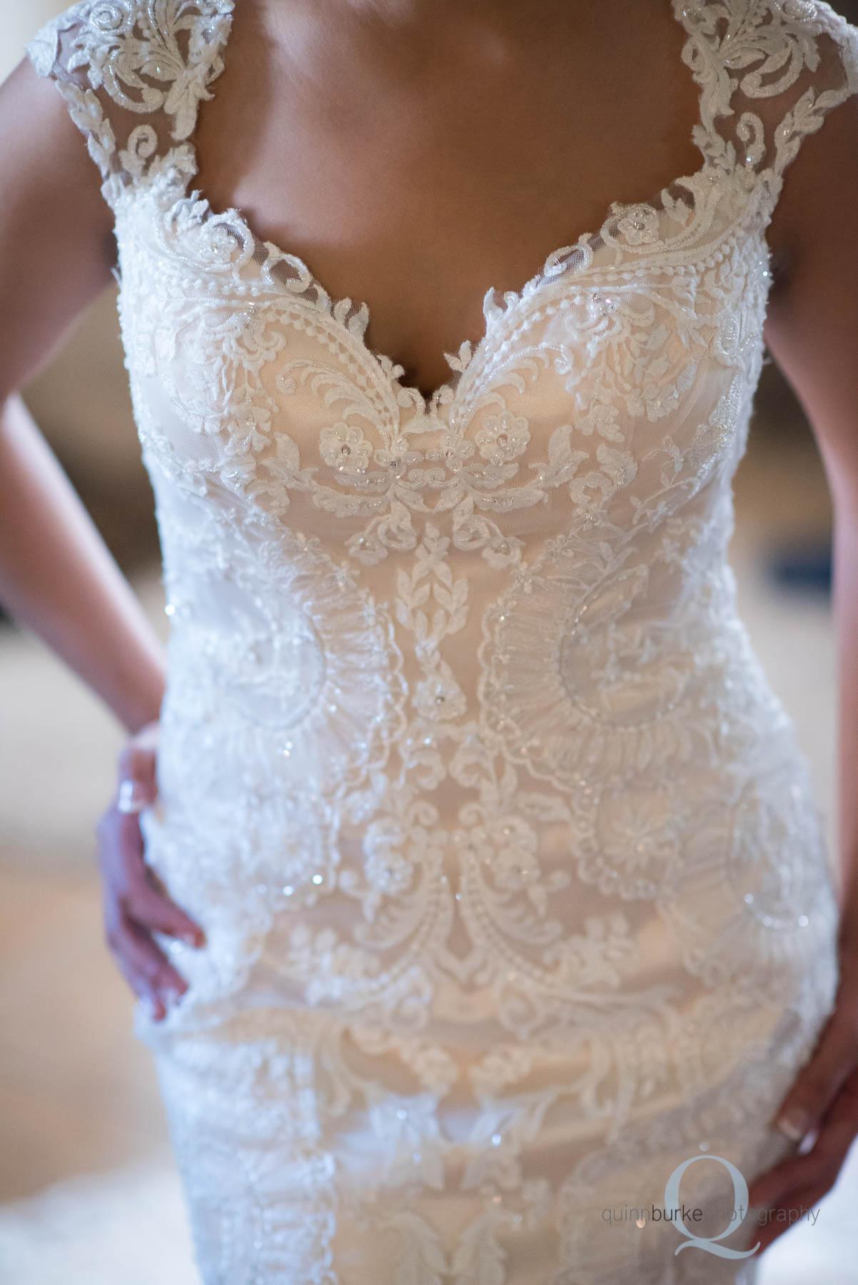 front of bride's wedding dress Green Villa Barn